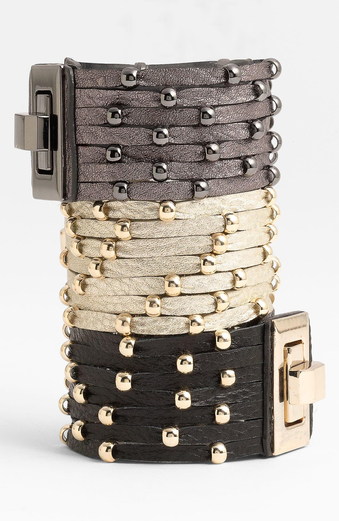 Main Image - Cara Accessories Sliced Leather Studded Bracelet