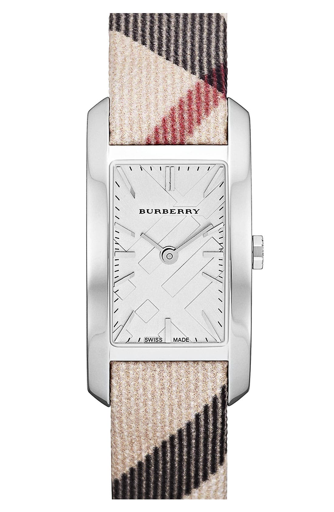 Alternate Image 1 Selected - Burberry Rectangular Check Strap Watch, 20mm x 26mm
