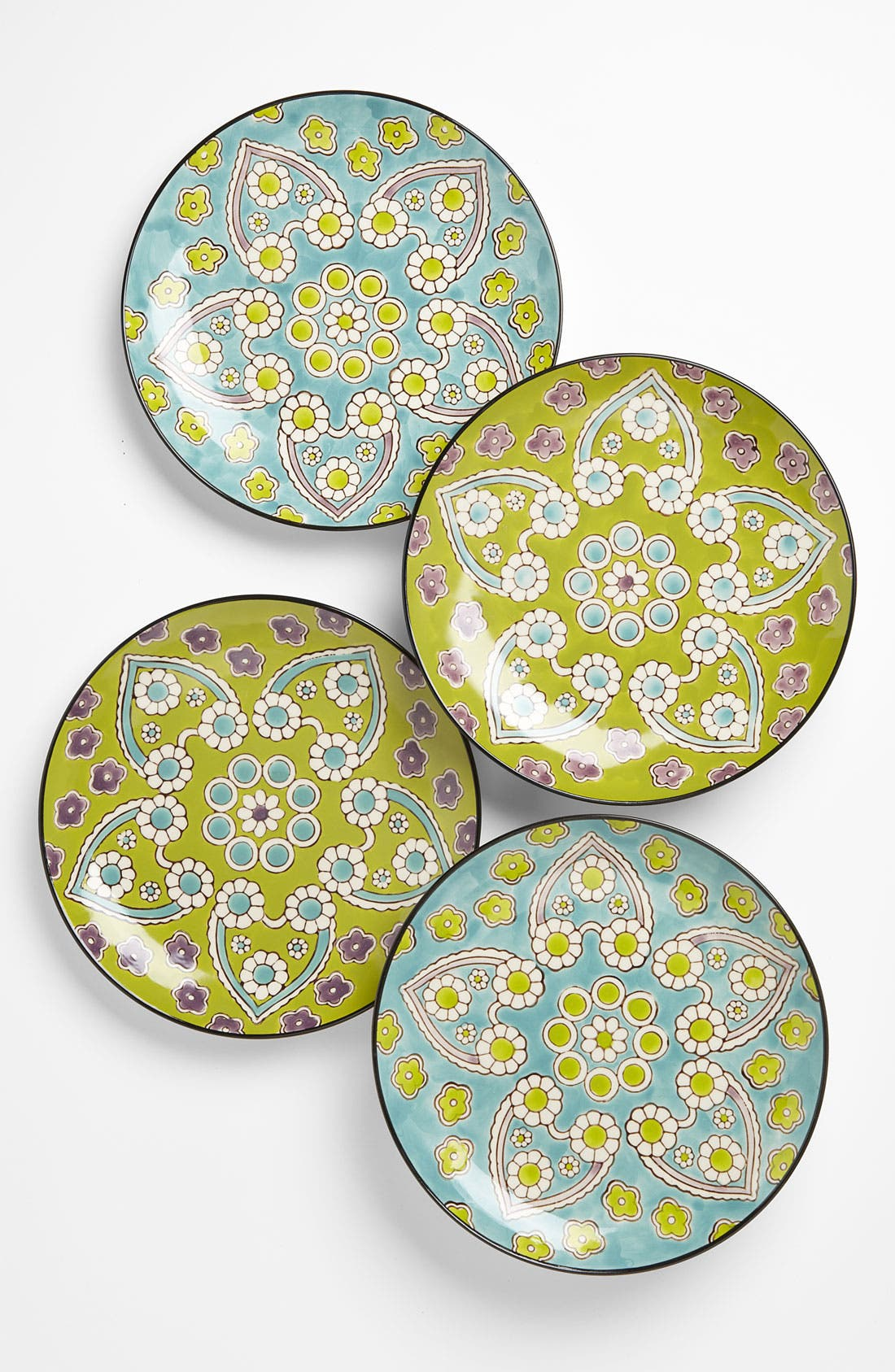 Main Image - Hand-Painted 'Lotus' Dessert Plates (Set of 4)