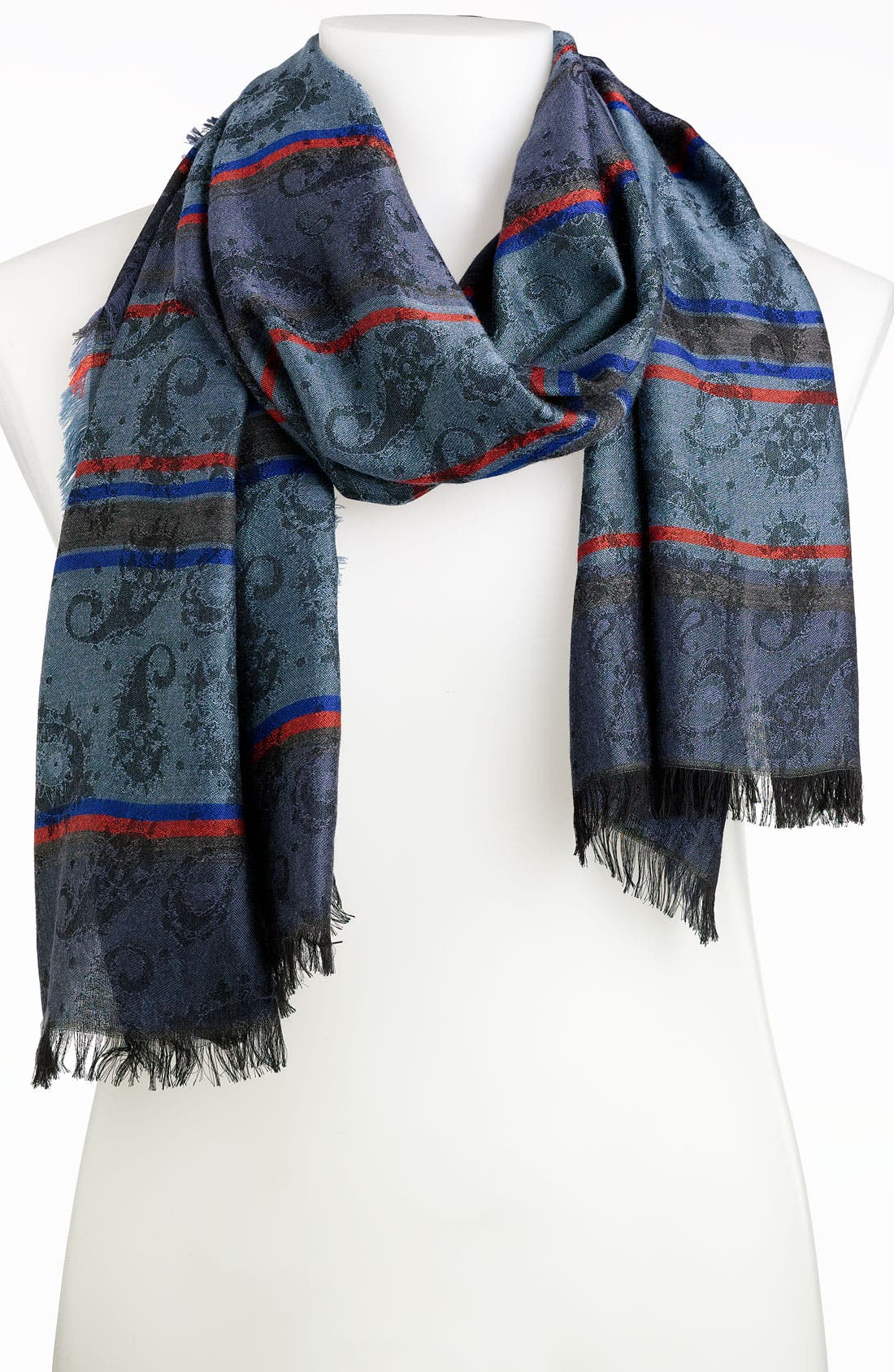 Jacquard Paisley Stripe Scarf,                         Main,                         color, Navy