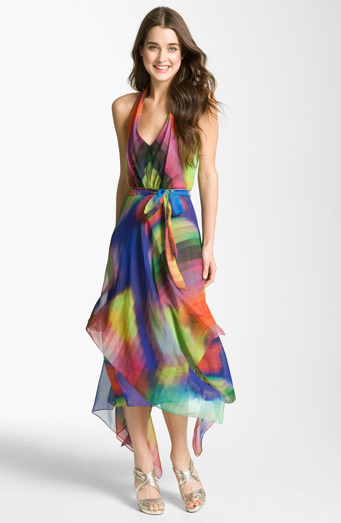 Main Image - Suzi Chin for Maggy Boutique Print Halter Dress