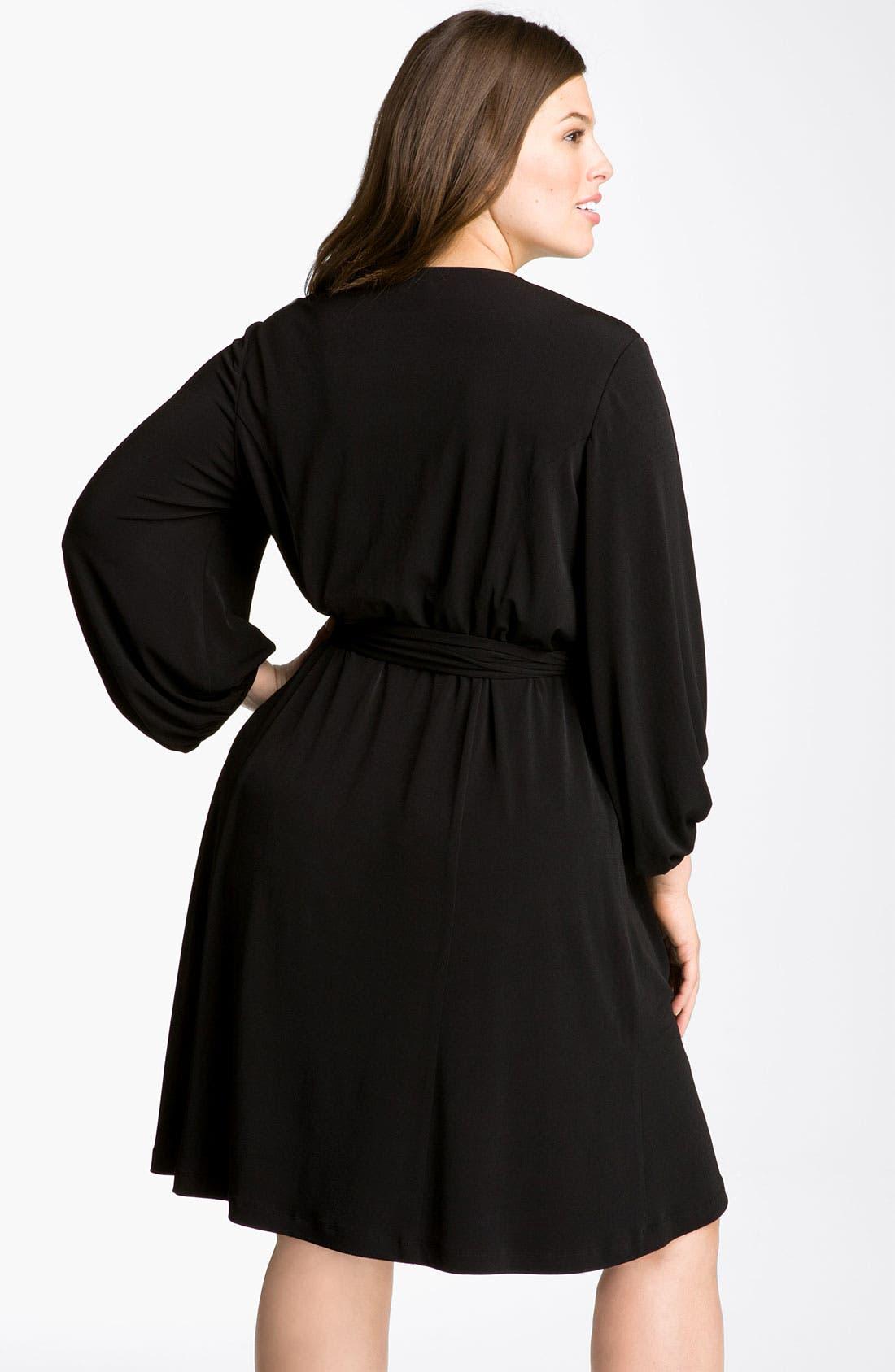 Alternate Image 2  - Donna Ricco Faux Wrap Jersey Dress (Plus Size)