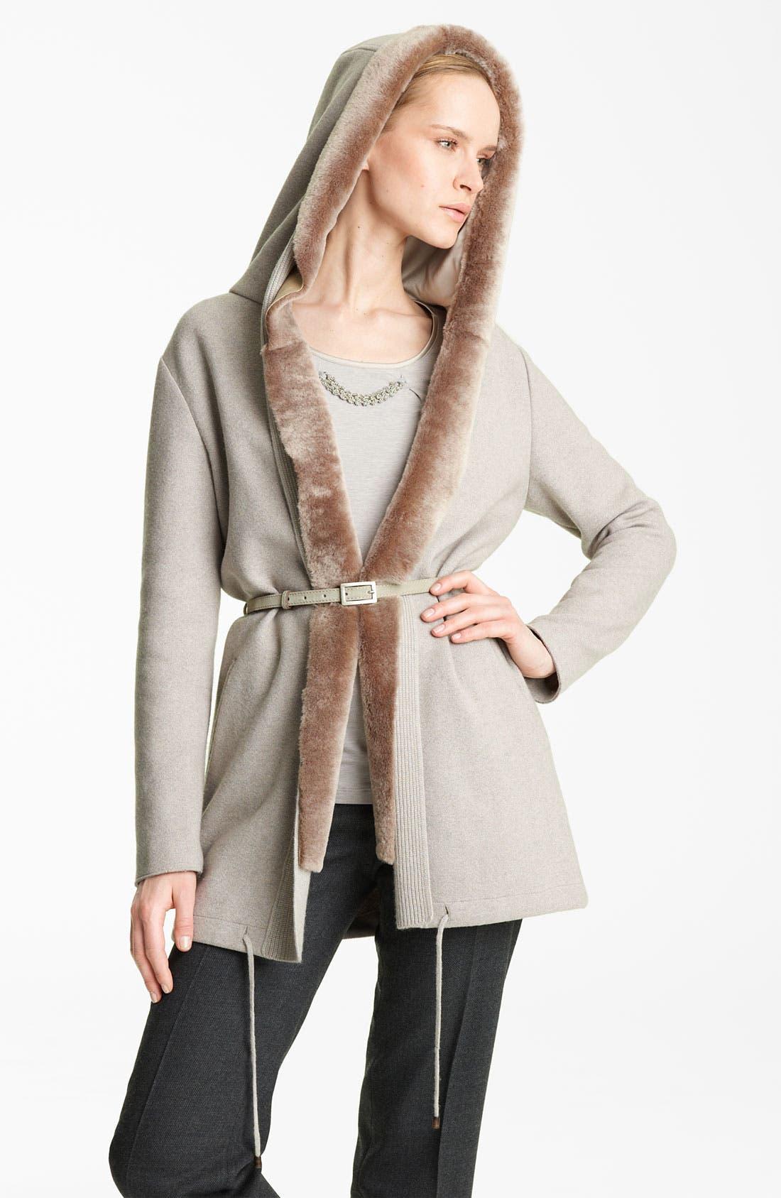 Alternate Image 2  - Fabiana Filippi Shearling Trim Coat