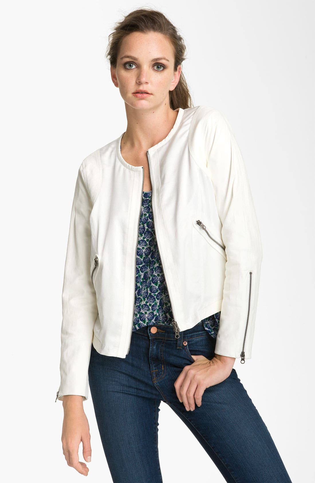 Main Image - Truth and Pride Silk & Leather Bomber Jacket