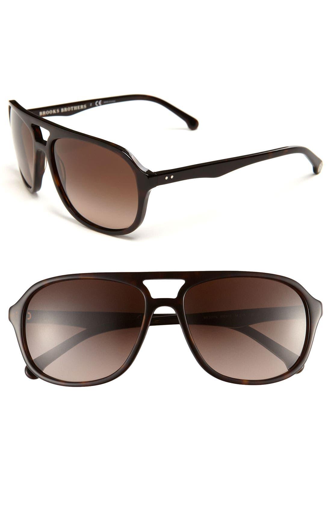 Main Image - Brooks Brothers Square 58mm Aviator Sunglasses