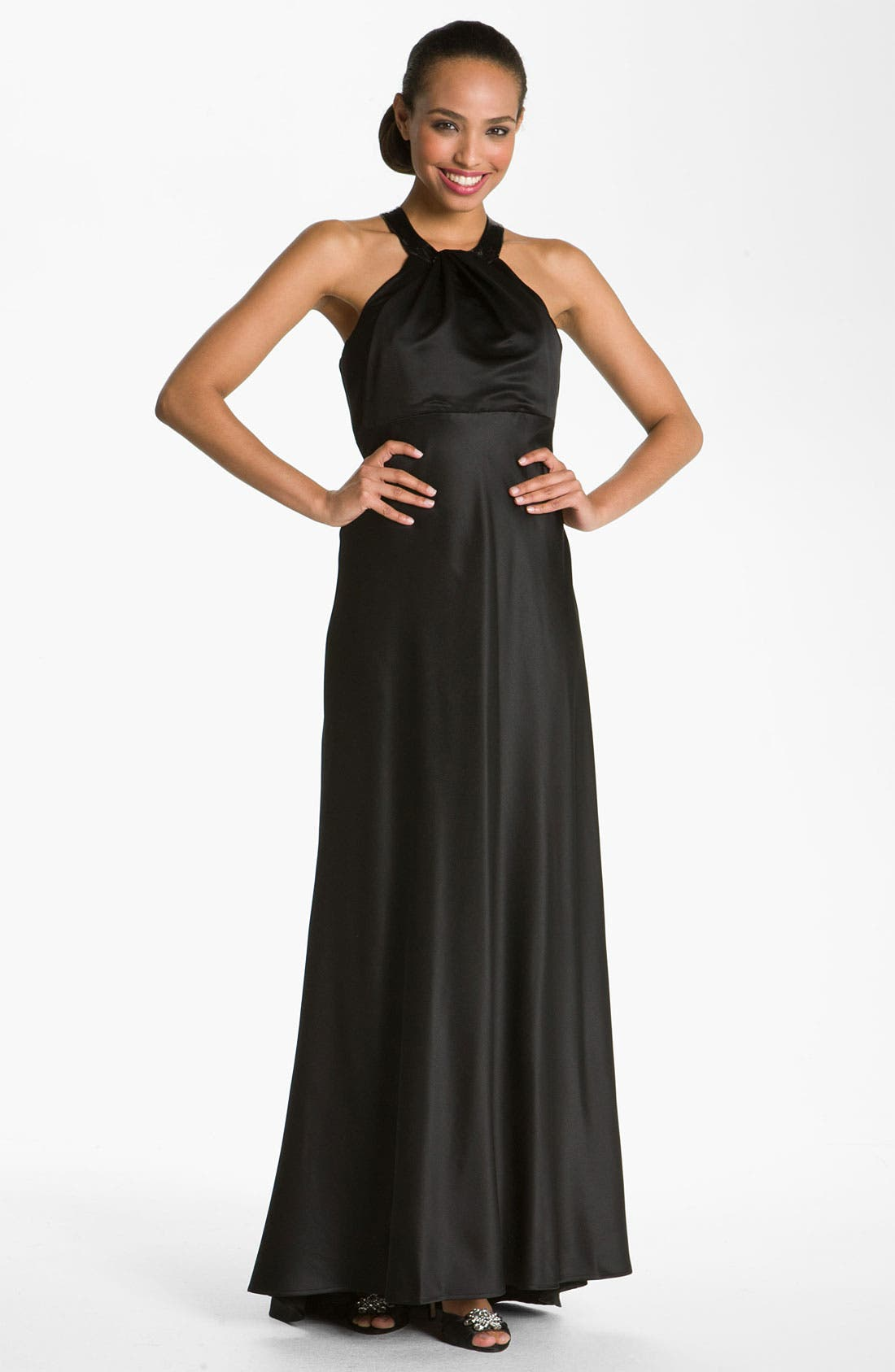Main Image - Calvin Klein Sequin Trim Satin Gown