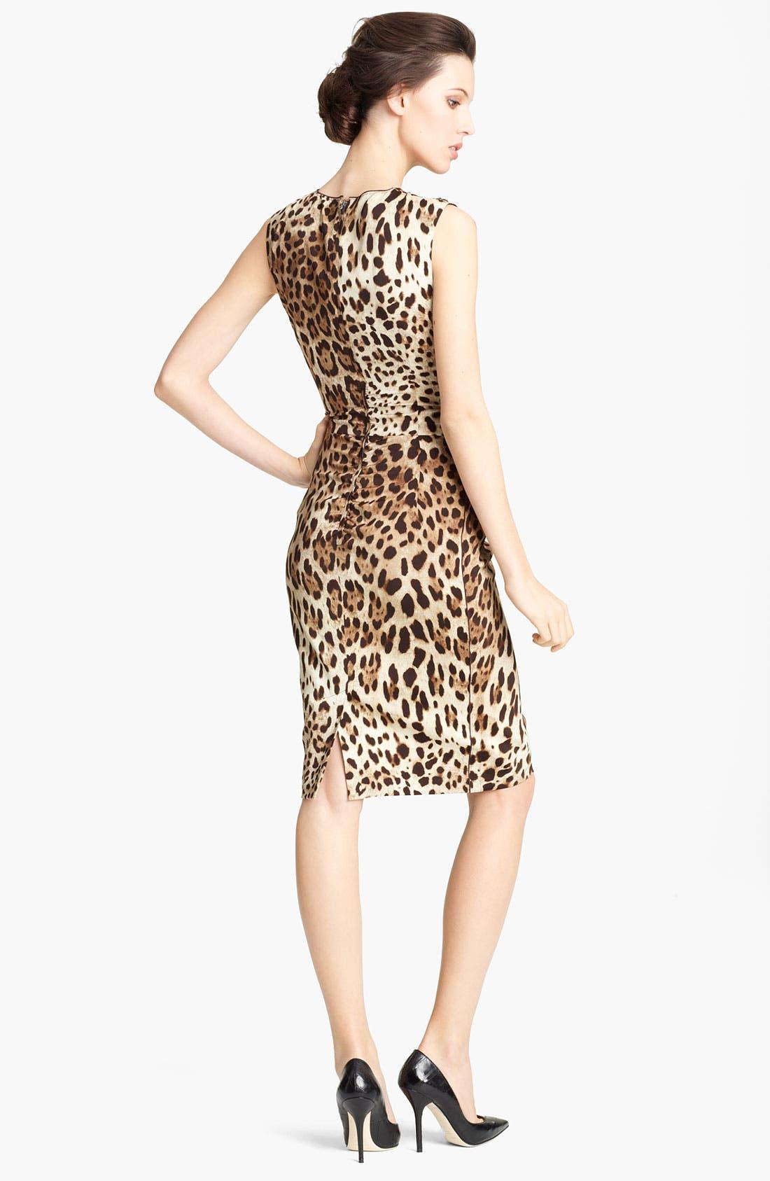 Alternate Image 2  - Dolce&Gabbana Leopard Print Stretch Silk Dress