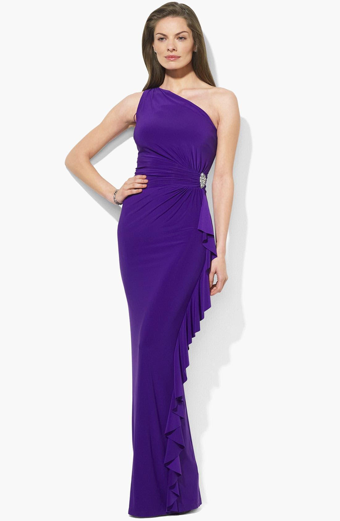 Main Image - Lauren Ralph Lauren Ruffle One Shoulder Jersey Gown