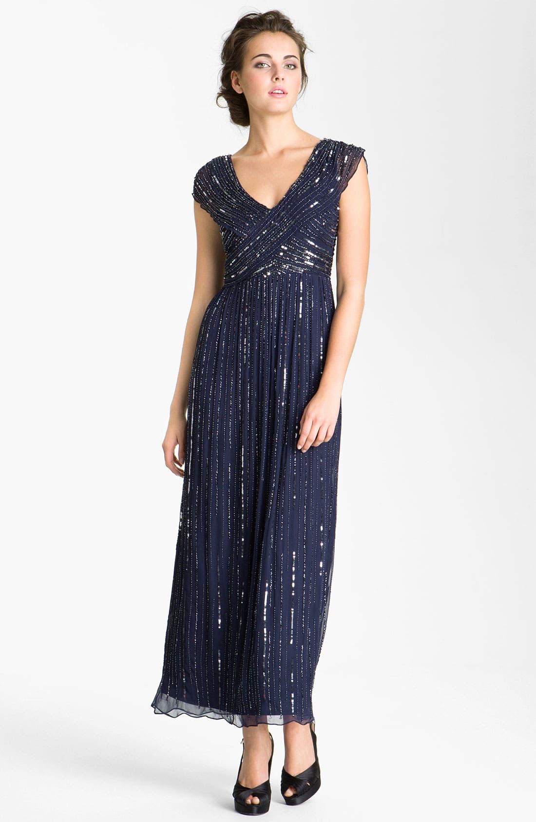 Main Image - Patra V-Neck Embellished Silk Chiffon Gown