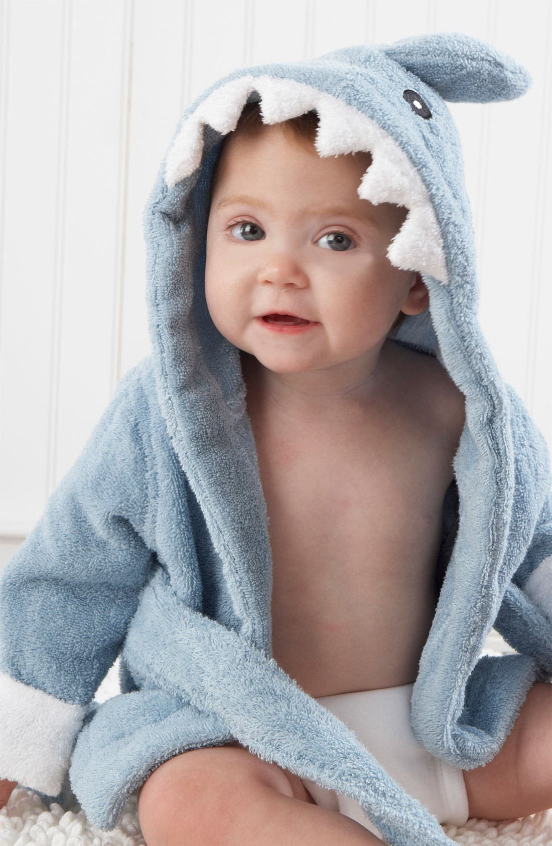 Alternate Image 1 Selected - Baby Aspen 'Let the Fin Begin' Terry Robe (Baby)