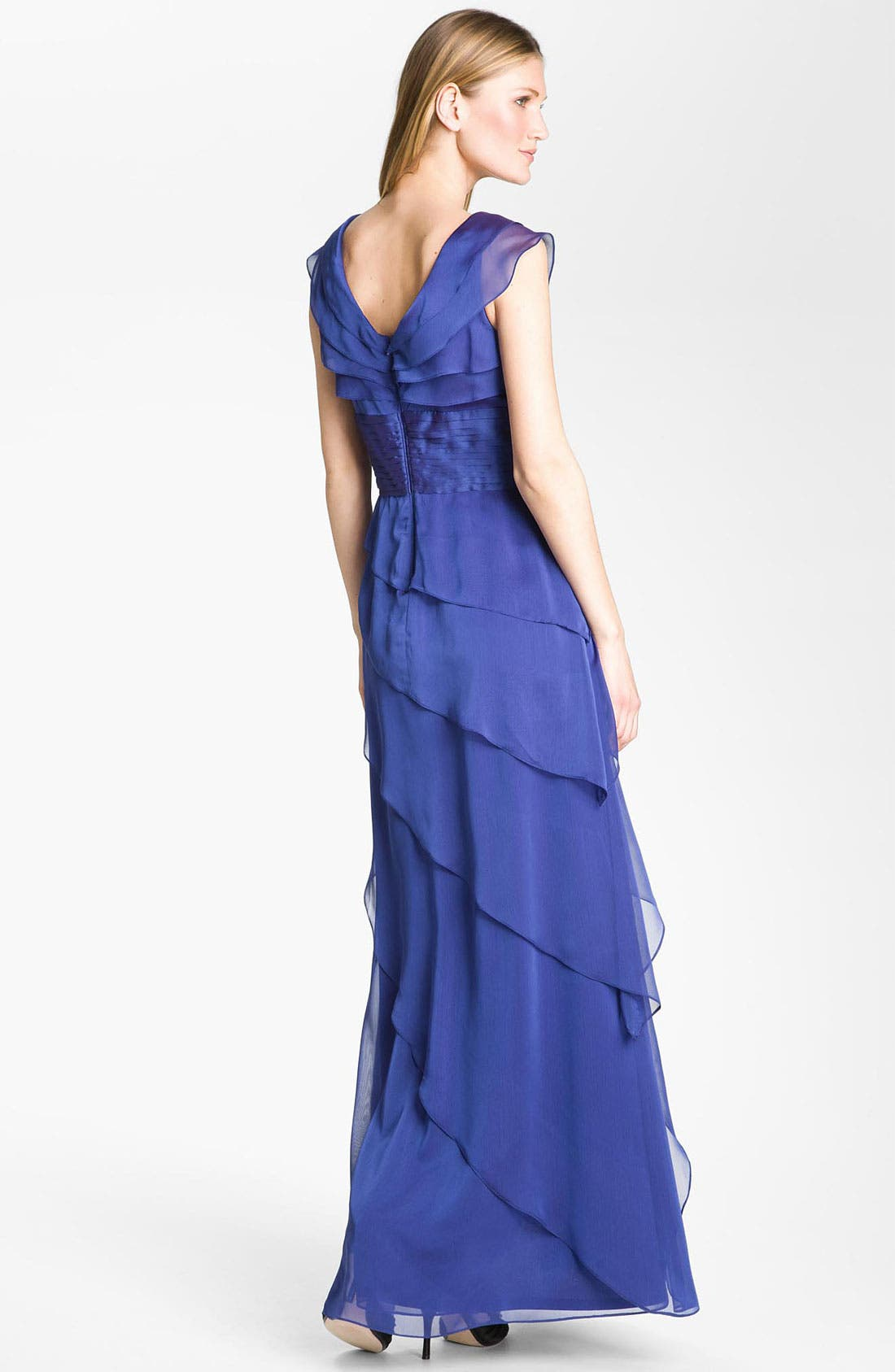 Alternate Image 2  - Adrianna Papell Tiered Chiffon Gown (Petite)