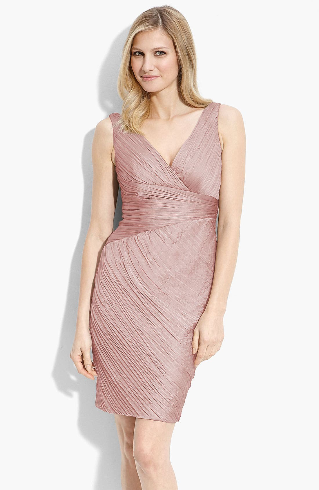 Main Image - ML Monique Lhuillier Bridesmaid Ruched Cationic Chiffon Dress (Nordstrom Exclusive)