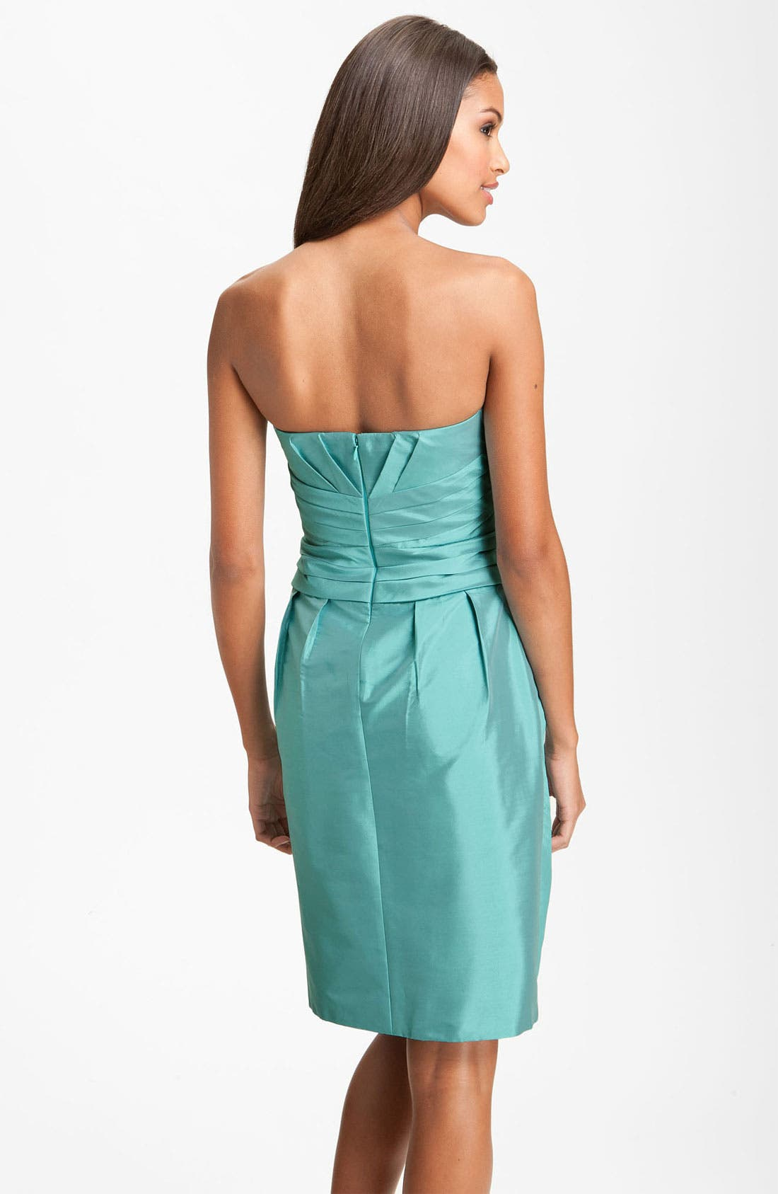 Alternate Image 2  - ML Monique Lhuillier Bridesmaids Pleated Strapless Taffeta Dress (Nordstrom Exclusive)