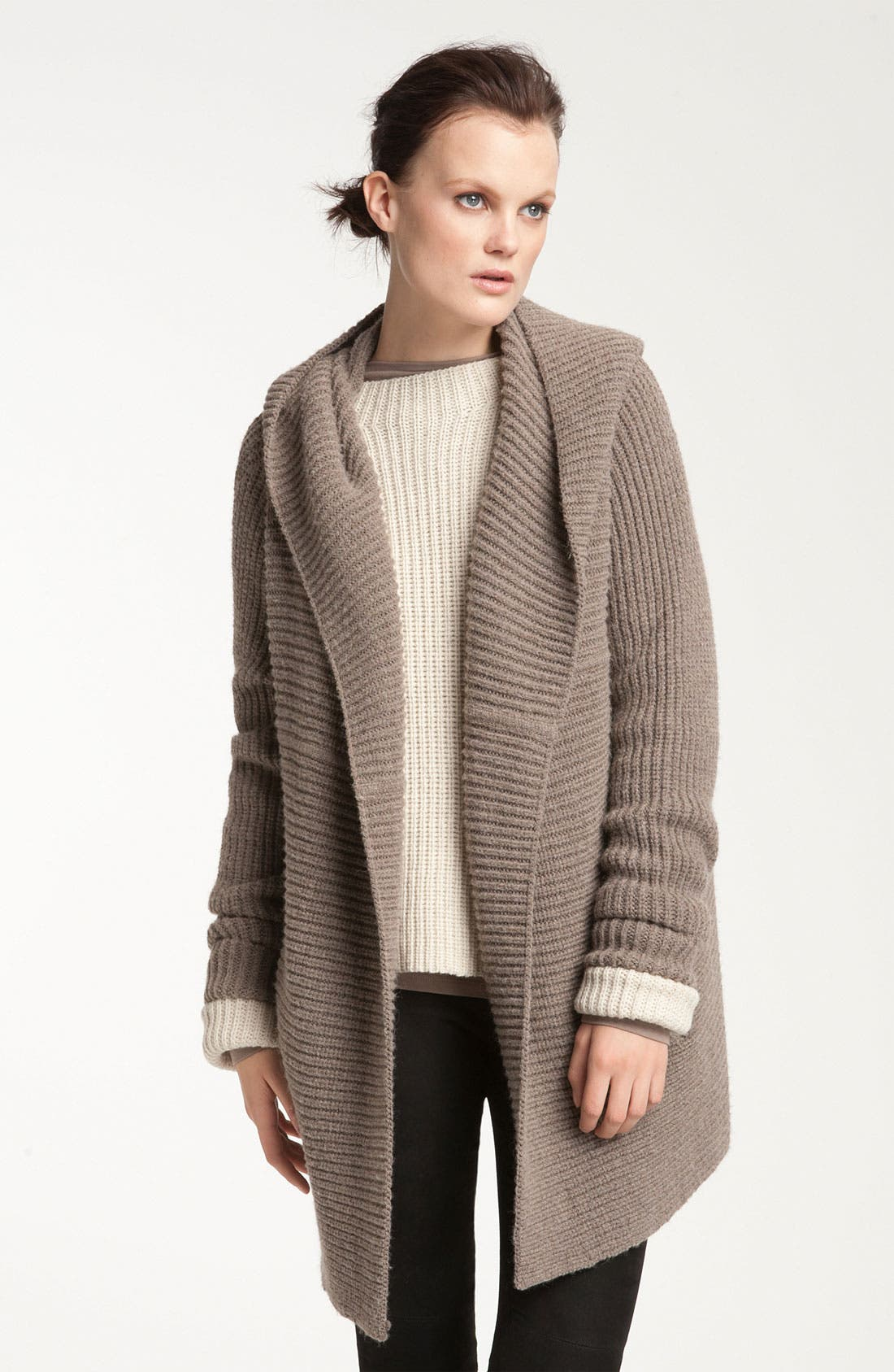 Alternate Image 1 Selected - Vince Hooded Ribbed Cardigan