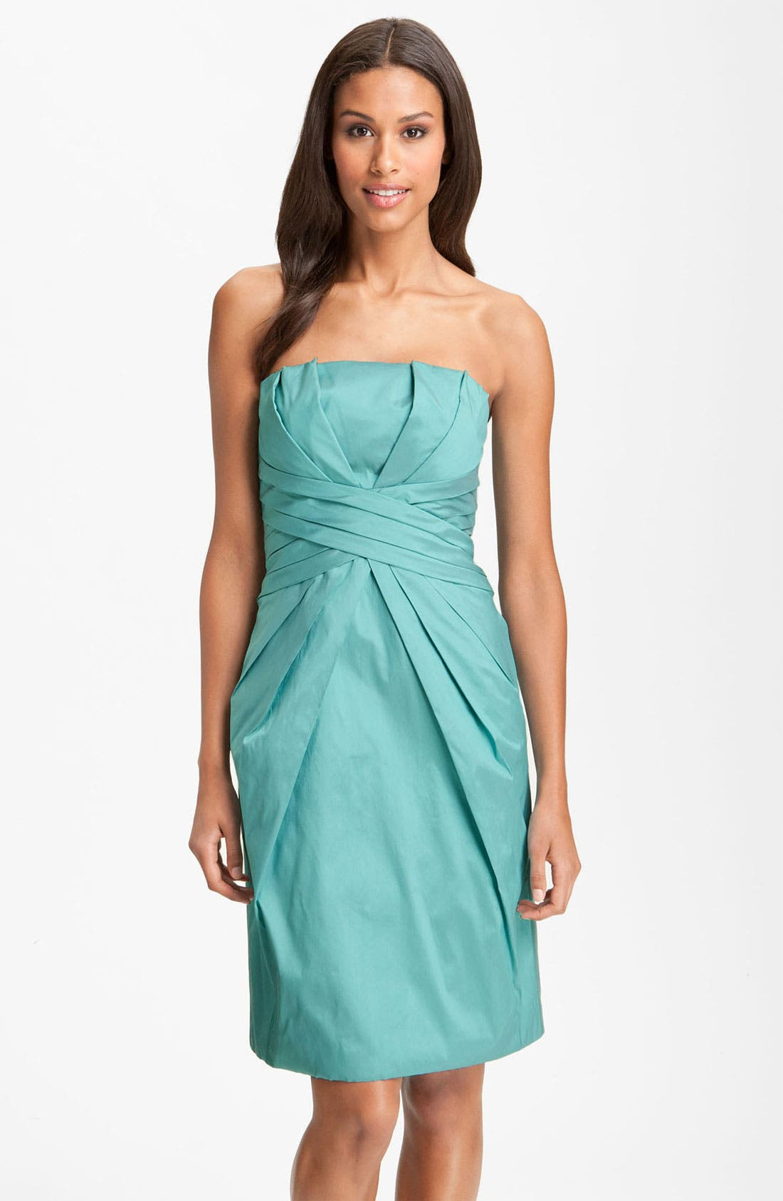 Main Image - ML Monique Lhuillier Bridesmaids Pleated Strapless Taffeta Dress (Nordstrom Exclusive)