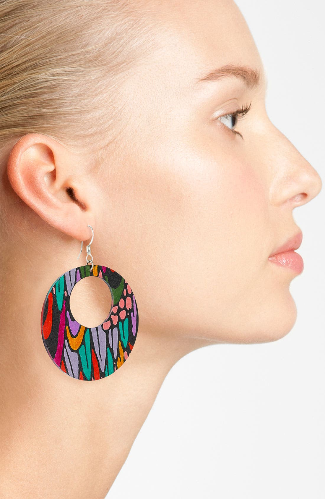 Alternate Image 2  - Passionflower Open Circle Drop Earrings