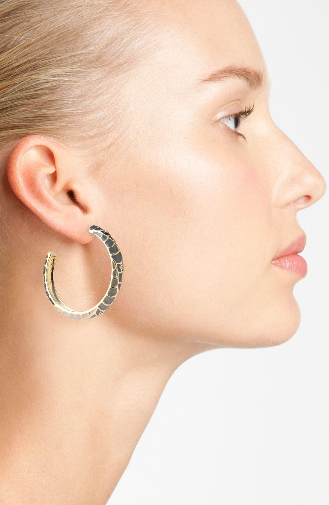 Alternate Image 2  - Sequin 'Feather Plume' Enamel Hoop Earrings