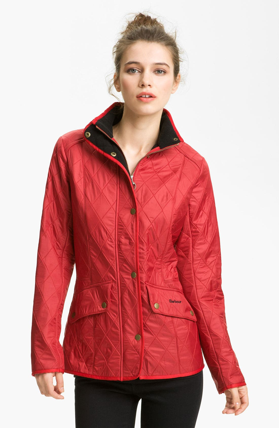 'Cavalry' Quilted Jacket,                             Main thumbnail 1, color,                             Red