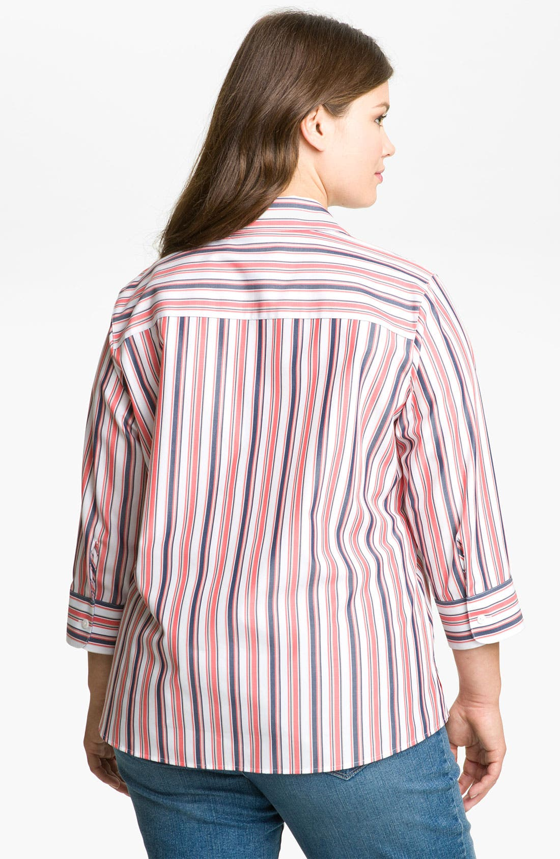 Alternate Image 2  - Foxcroft 'Summer Stripe' Blouse (Plus)
