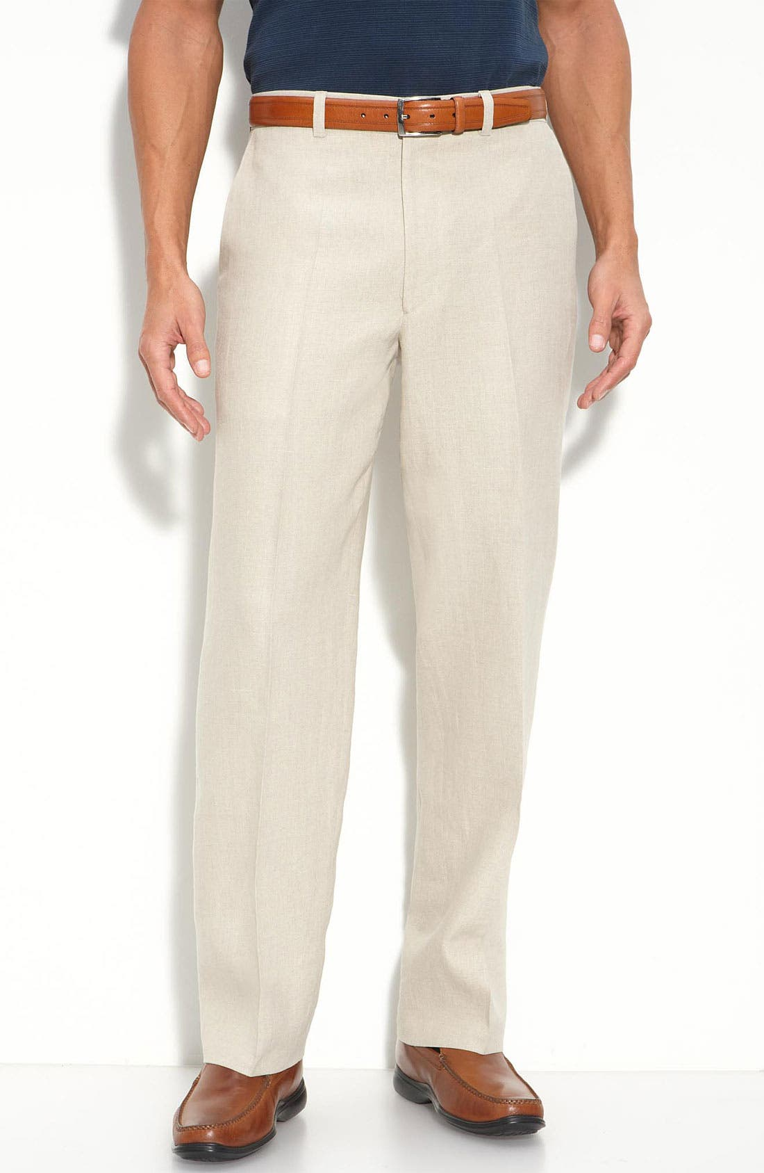 Main Image - Linea Naturale Updated Flat Front Linen Trousers