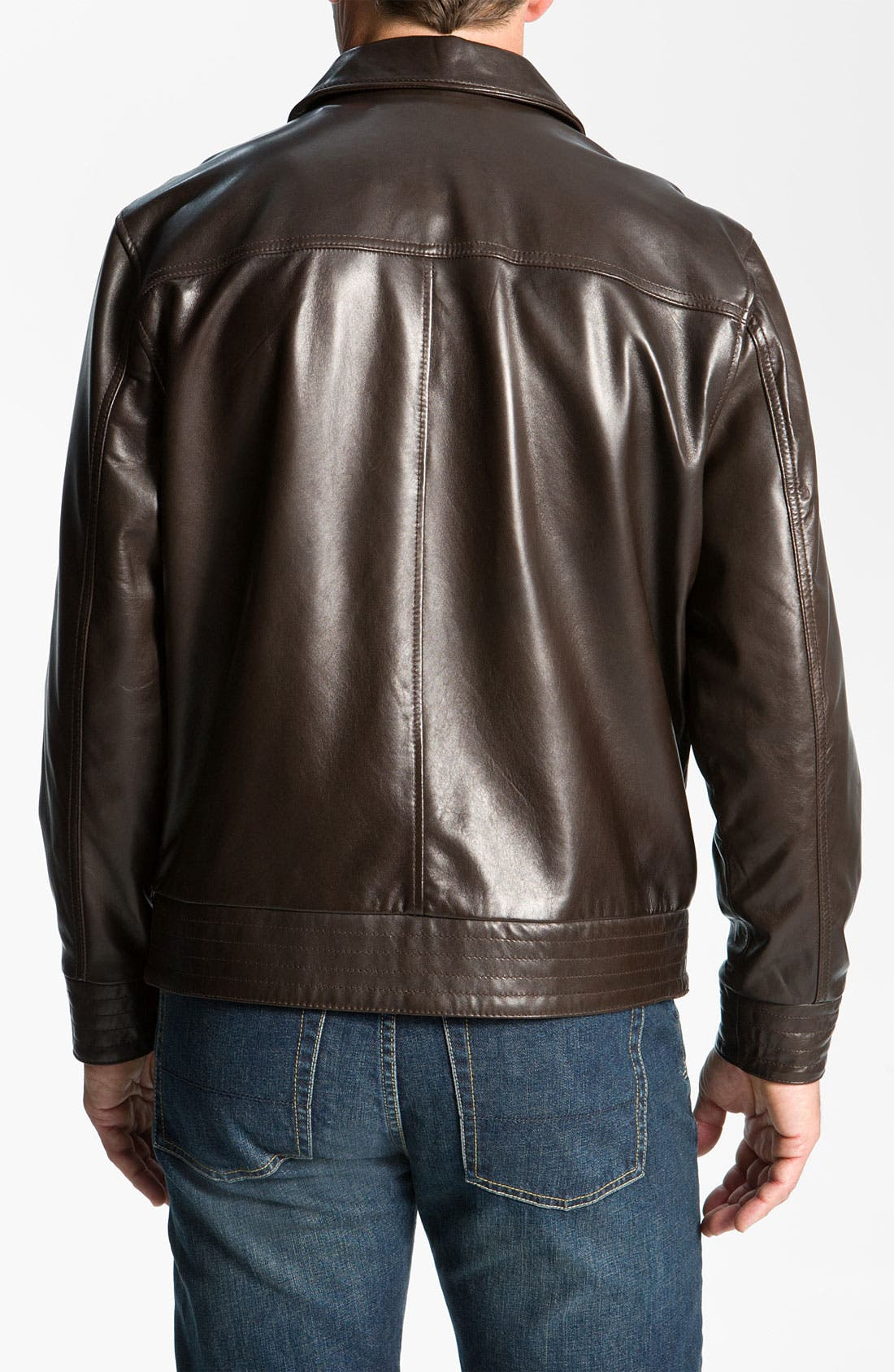 Alternate Image 2  - Cutter & Buck 'Wildridge' Leather Bomber Jacket (Big & Tall)