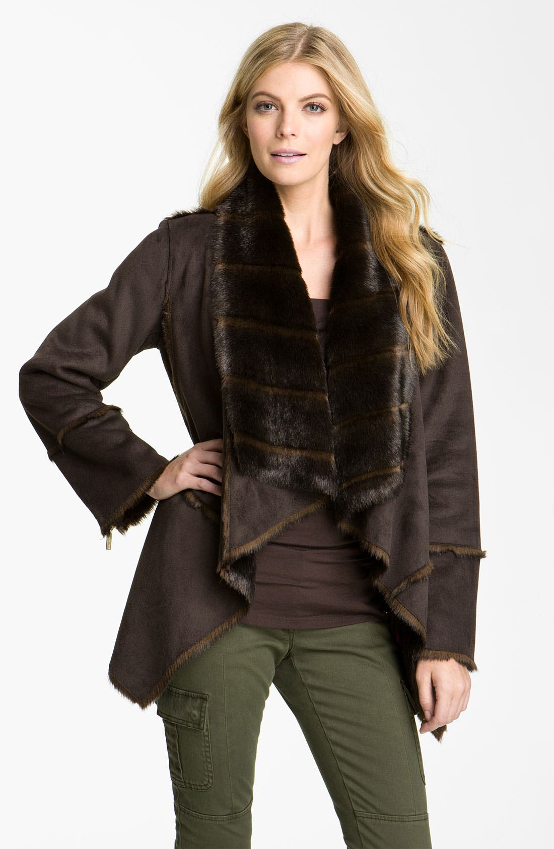 Faux Shearling Coat,                         Main,                         color, Chocolate
