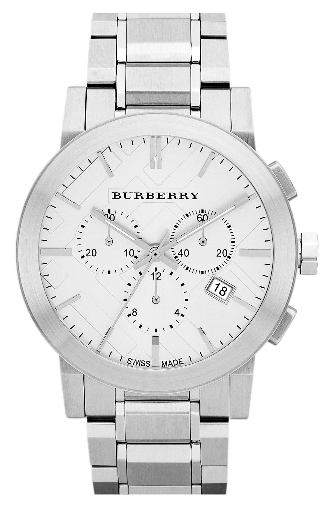 Alternate Image 1 Selected - Burberry Check Stamped Chronograph Bracelet Watch, 44mm