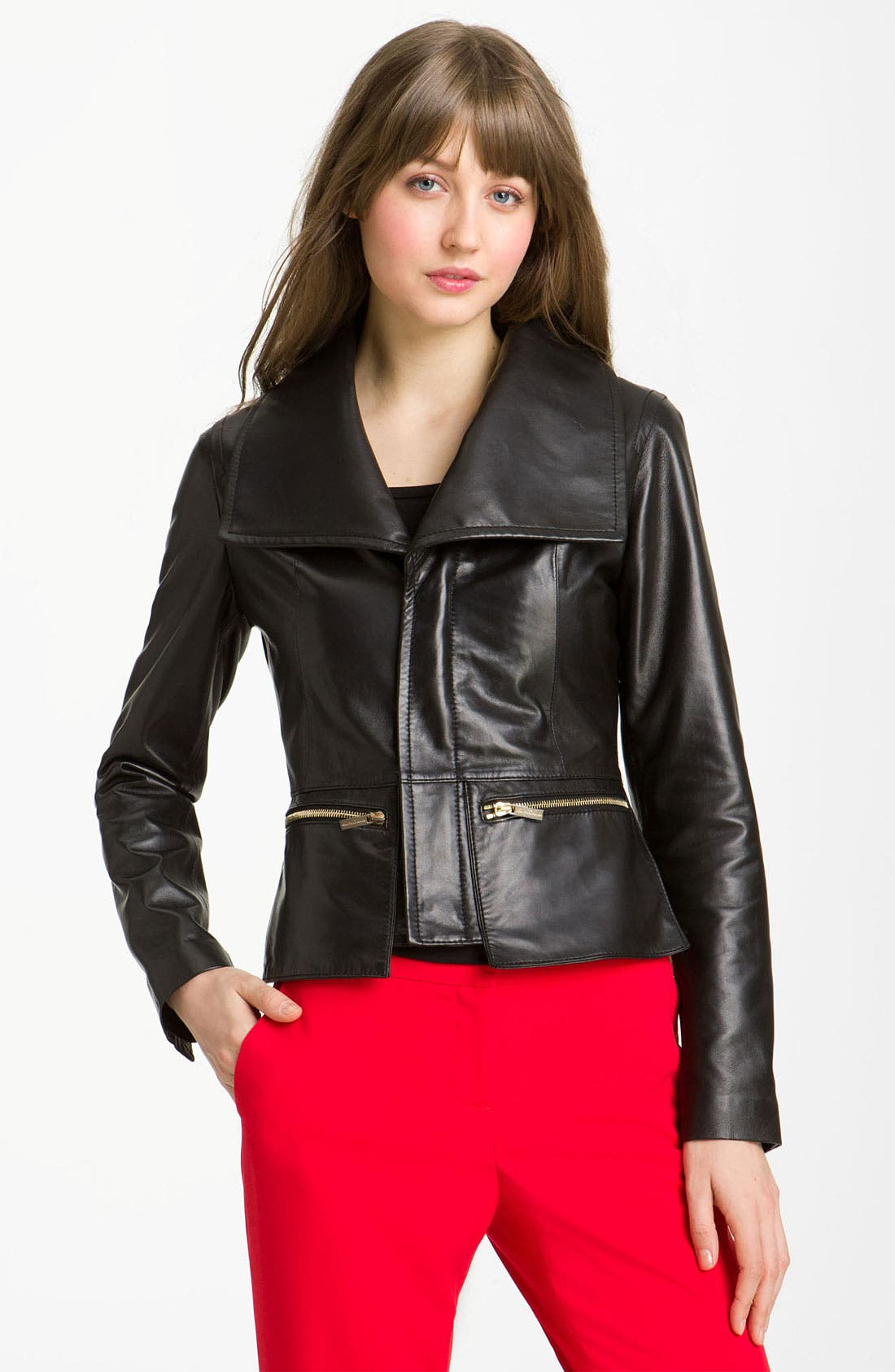Alternate Image 1 Selected - Kenneth Cole New York Wing Collar Leather Jacket