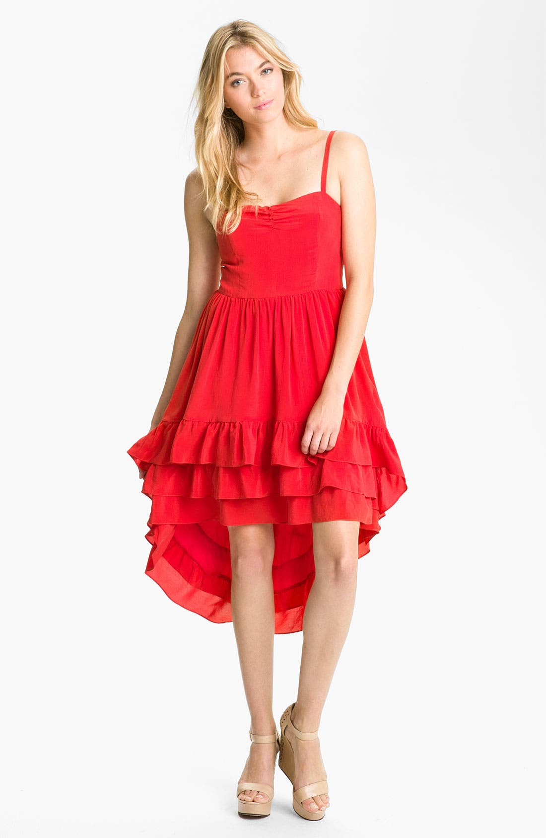 Main Image - Line & Dot Tiered Ruffle Silk Dress