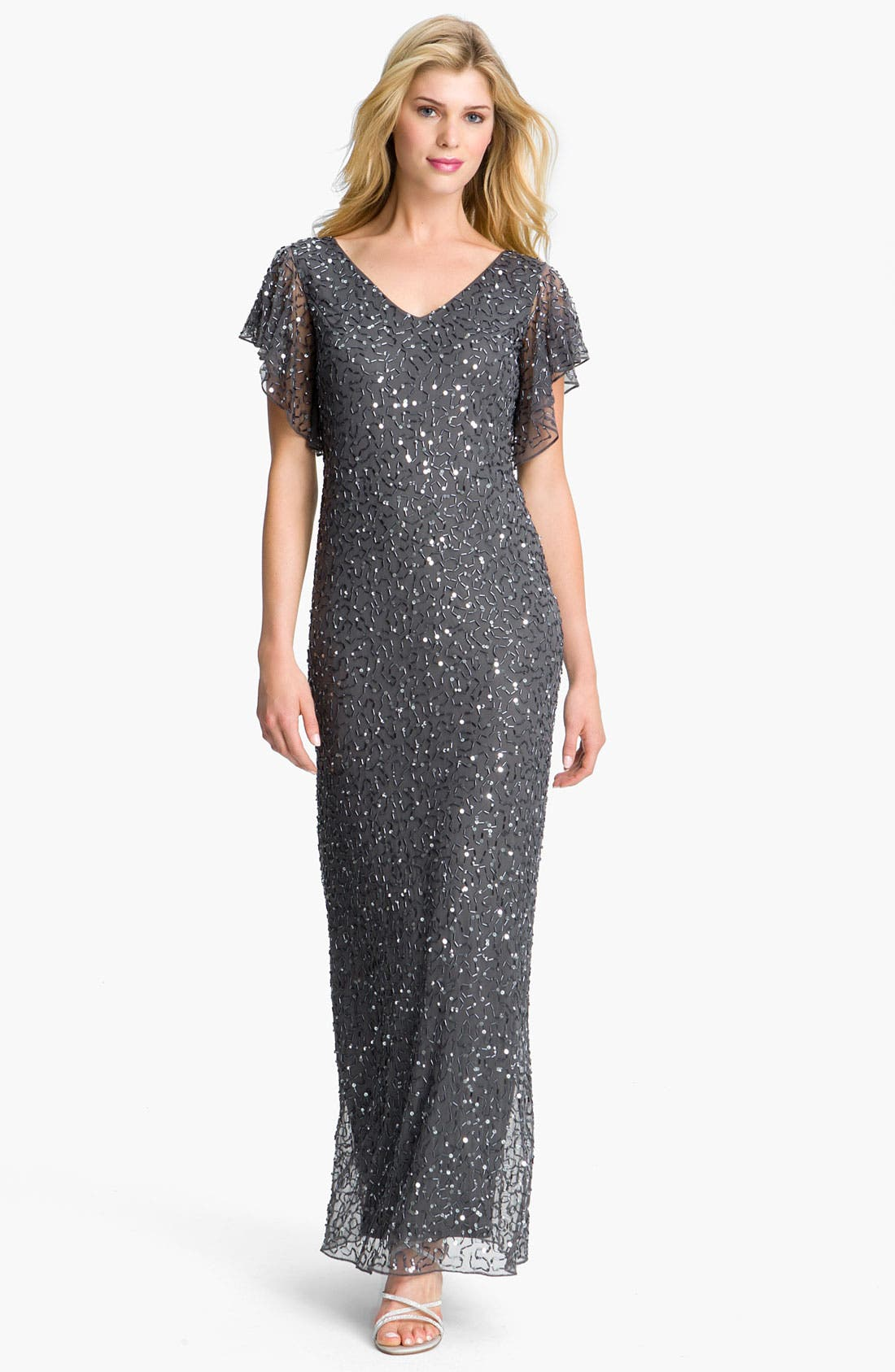 Alternate Image 1 Selected - Patra Beaded Flutter Sleeve Mesh Gown