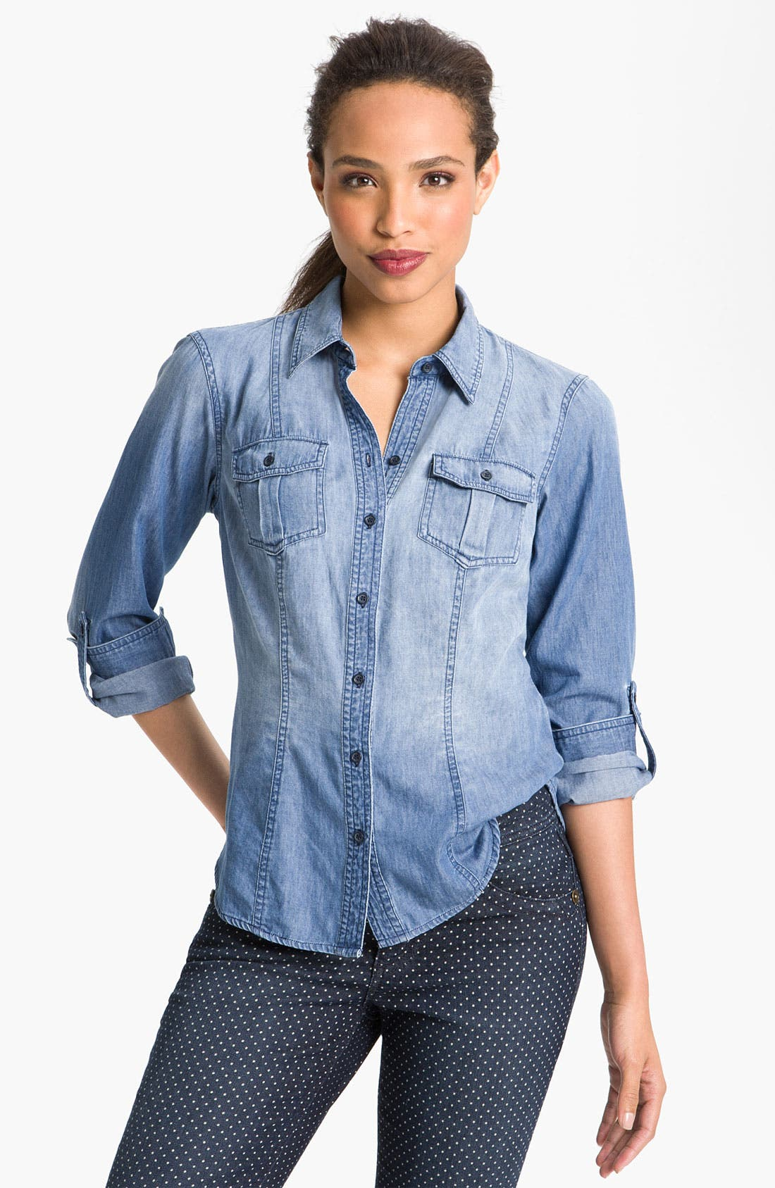Main Image - Sandra Ingrish Roll Sleeve Denim Shirt