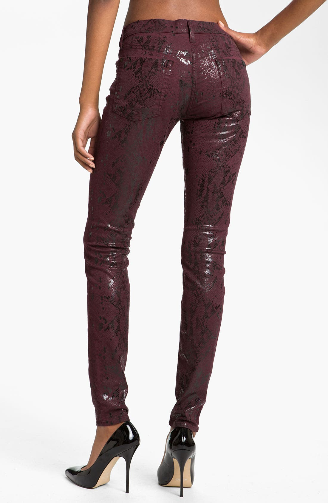 Alternate Image 2  - 7 For All Mankind® 'The Skinny' Print Stretch Jeans (Burgundy Snake)