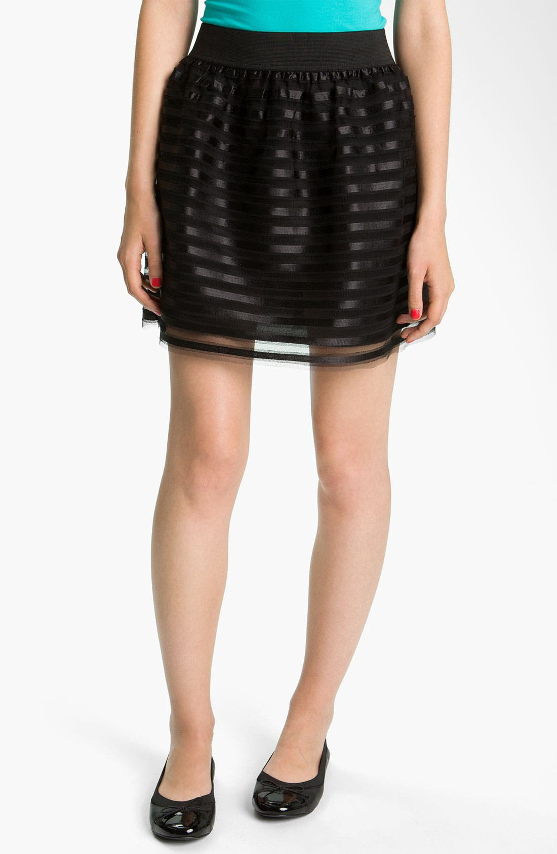 Alternate Image 1 Selected - Necessary Objects Satin Ribbon Skirt (Juniors)
