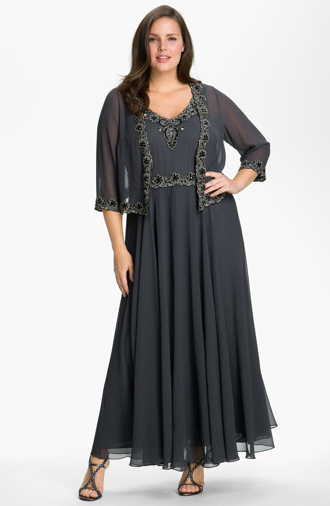 Main Image - J Kara Beaded Chiffon Gown & Jacket (Plus Size)