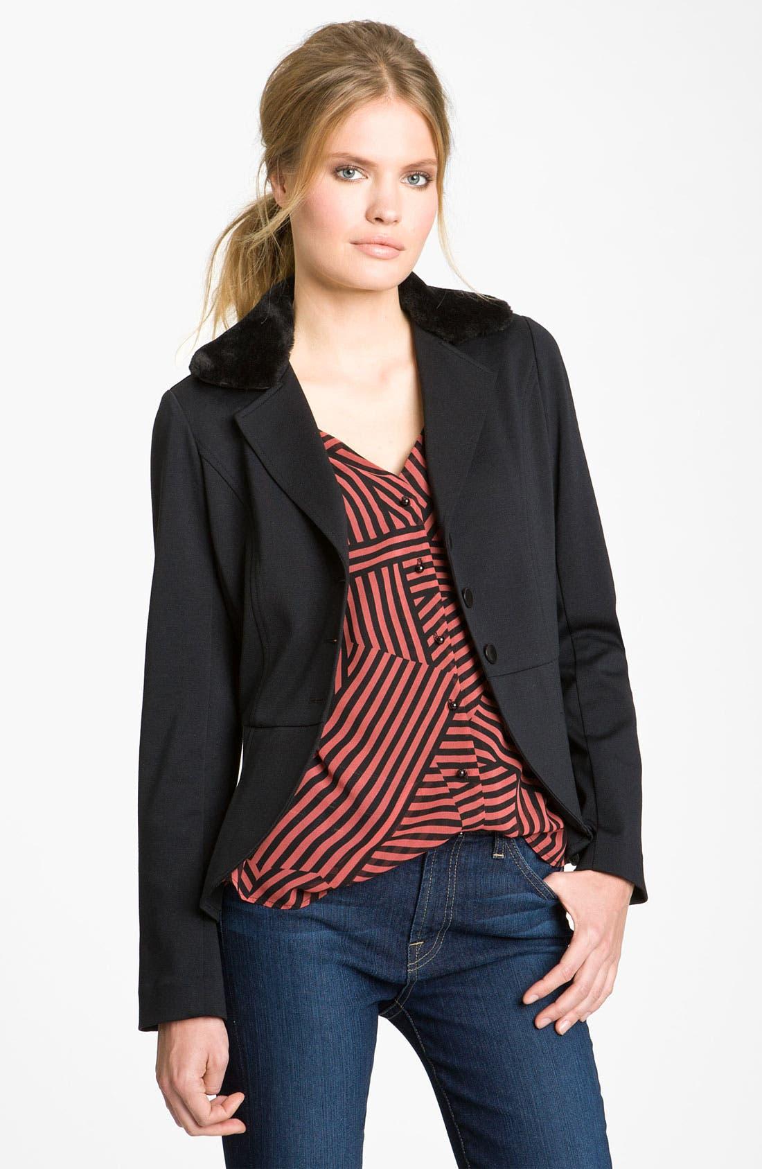 Main Image - Hinge® Faux Fur Collar Peplum Jacket