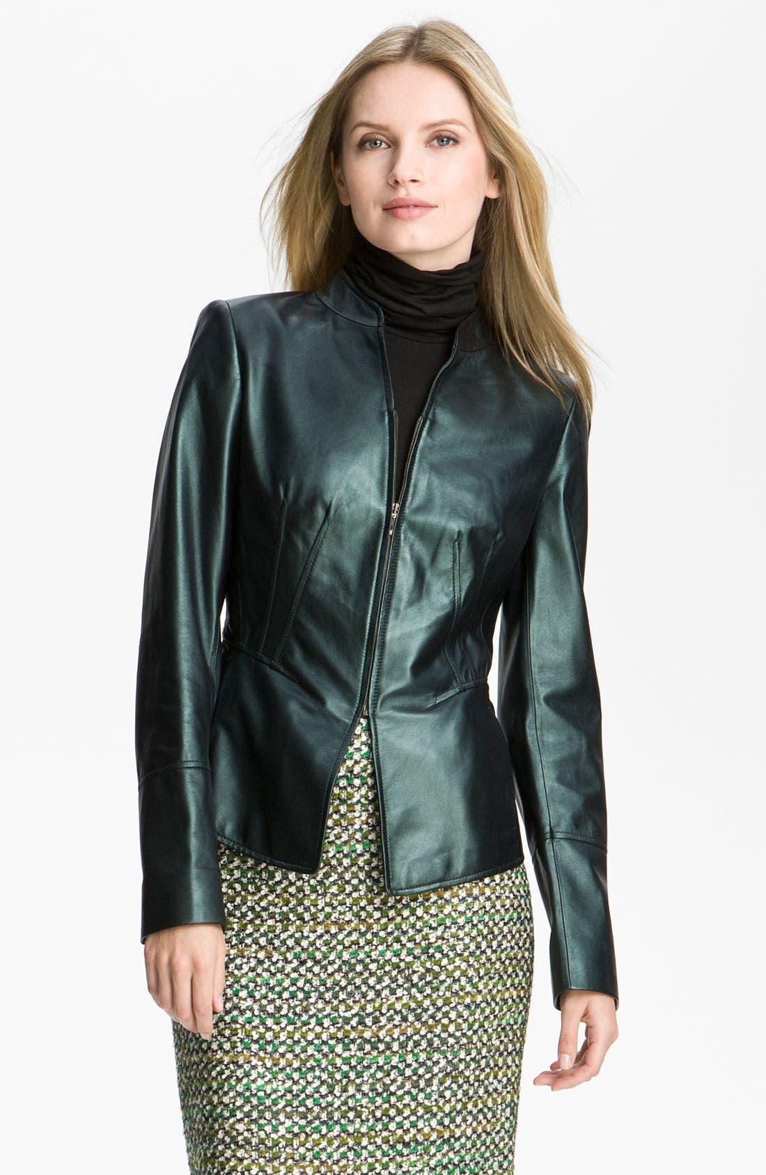 Main Image - Lafayette 148 New York Pearlized Leather Jacket