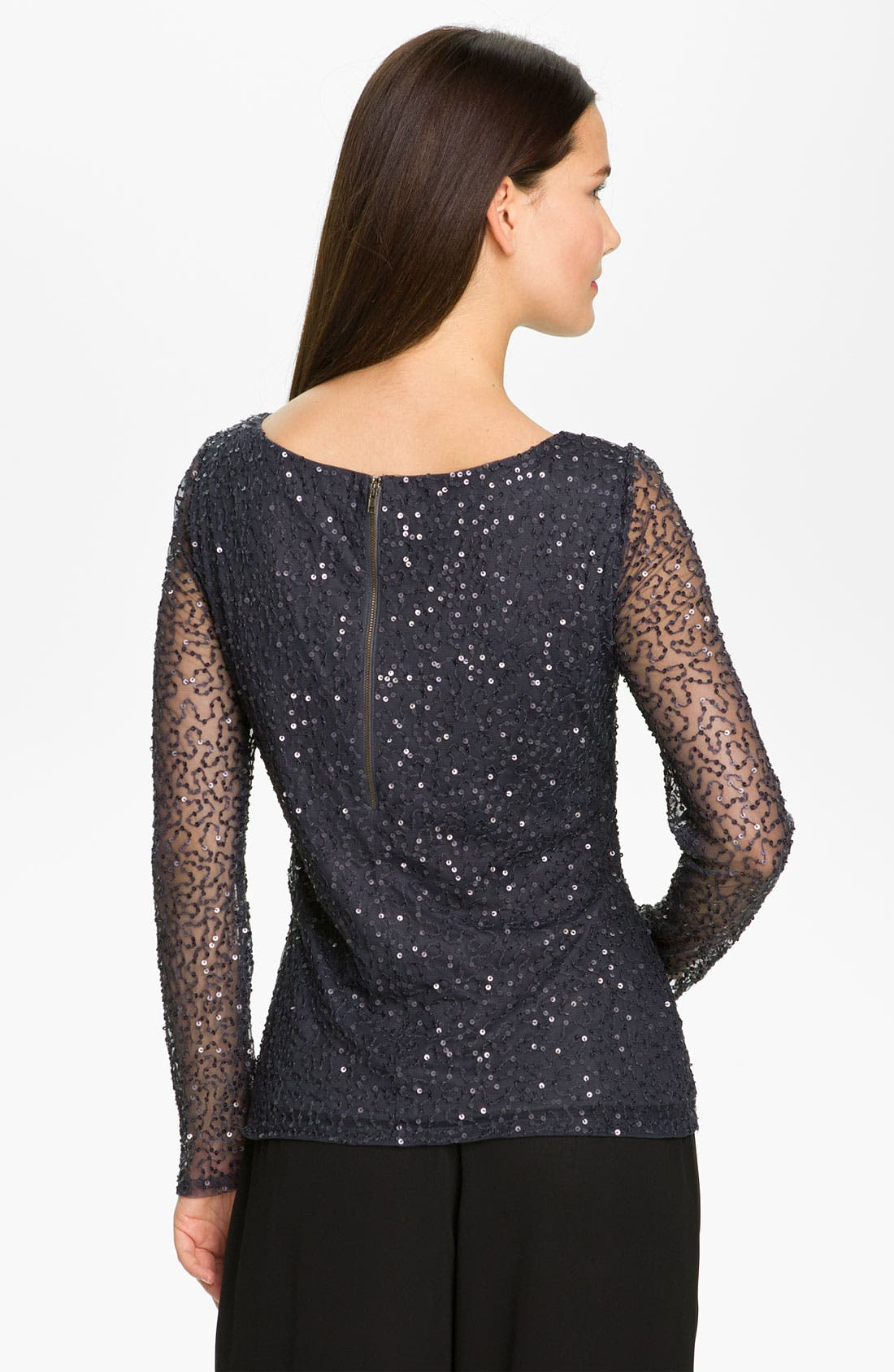 Alternate Image 2  - Adrianna Papell Sheer Sleeve Sequin Mesh Top