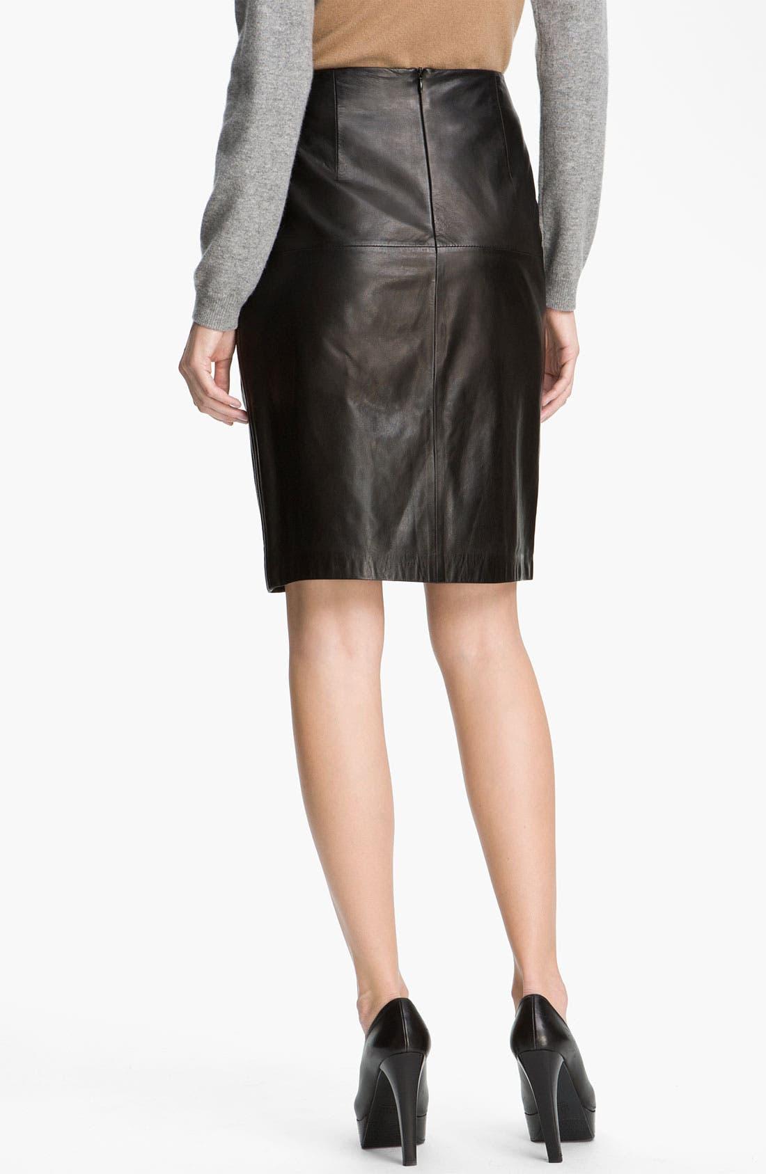 Alternate Image 2  - BOSS Black Leather Skirt