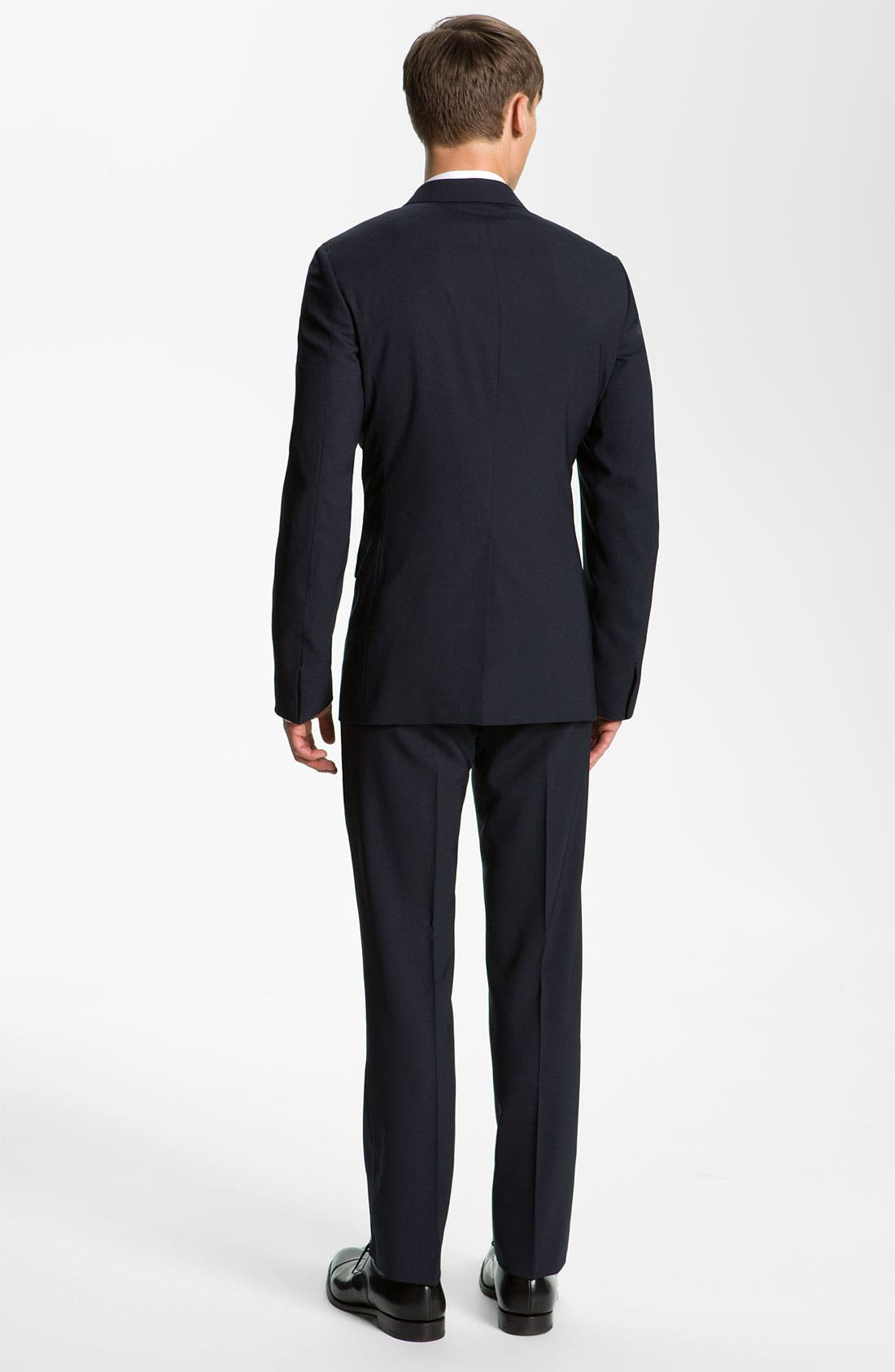 Stretch Wool Blend Suit,                             Alternate thumbnail 3, color,                             Dark Blue
