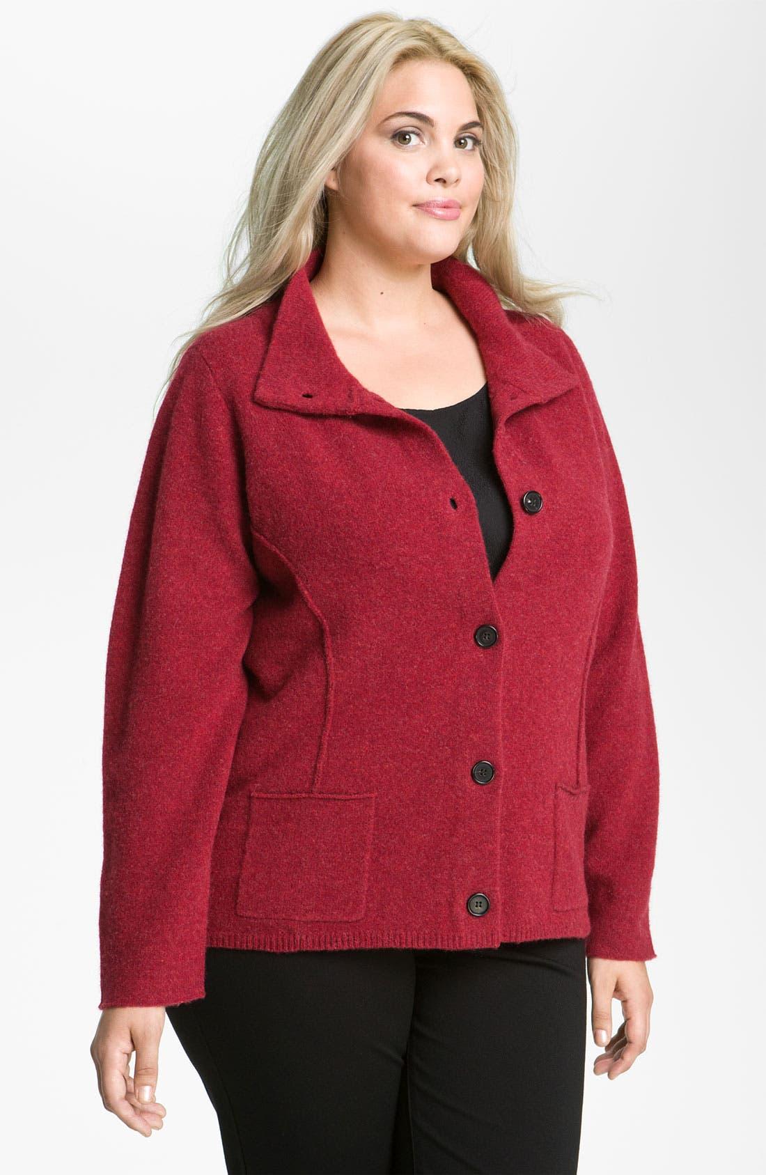 Alternate Image 1 Selected - Eileen Fisher Boiled Wool Jacket (Plus)