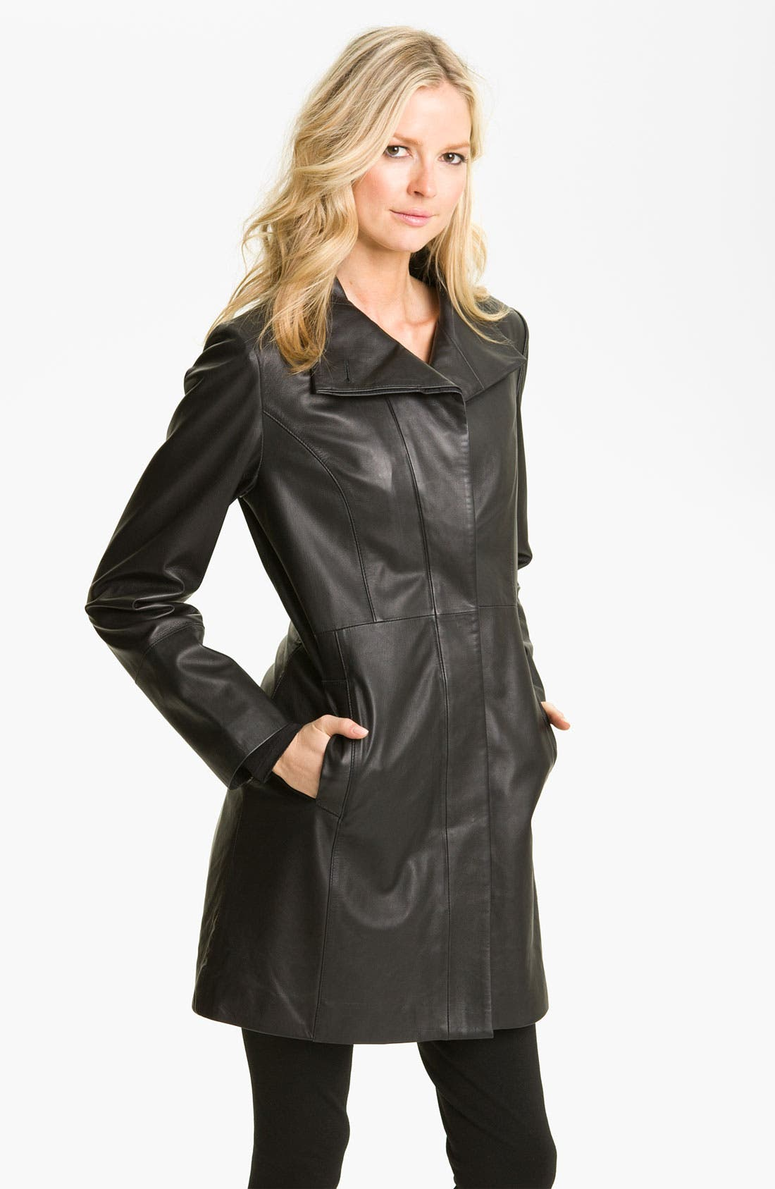Main Image - Cole Haan Leather Walking Coat with Liner