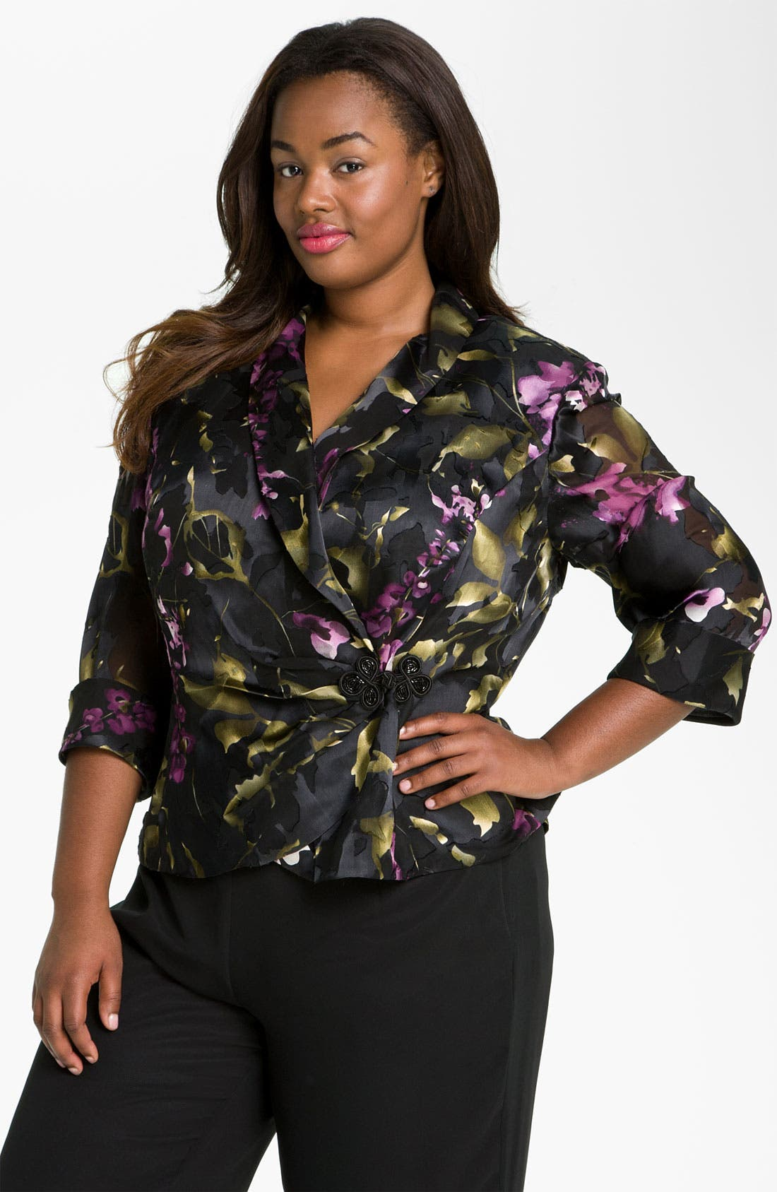 Alternate Image 1 Selected - Alex Evenings Print Wrap Blouse (Plus)