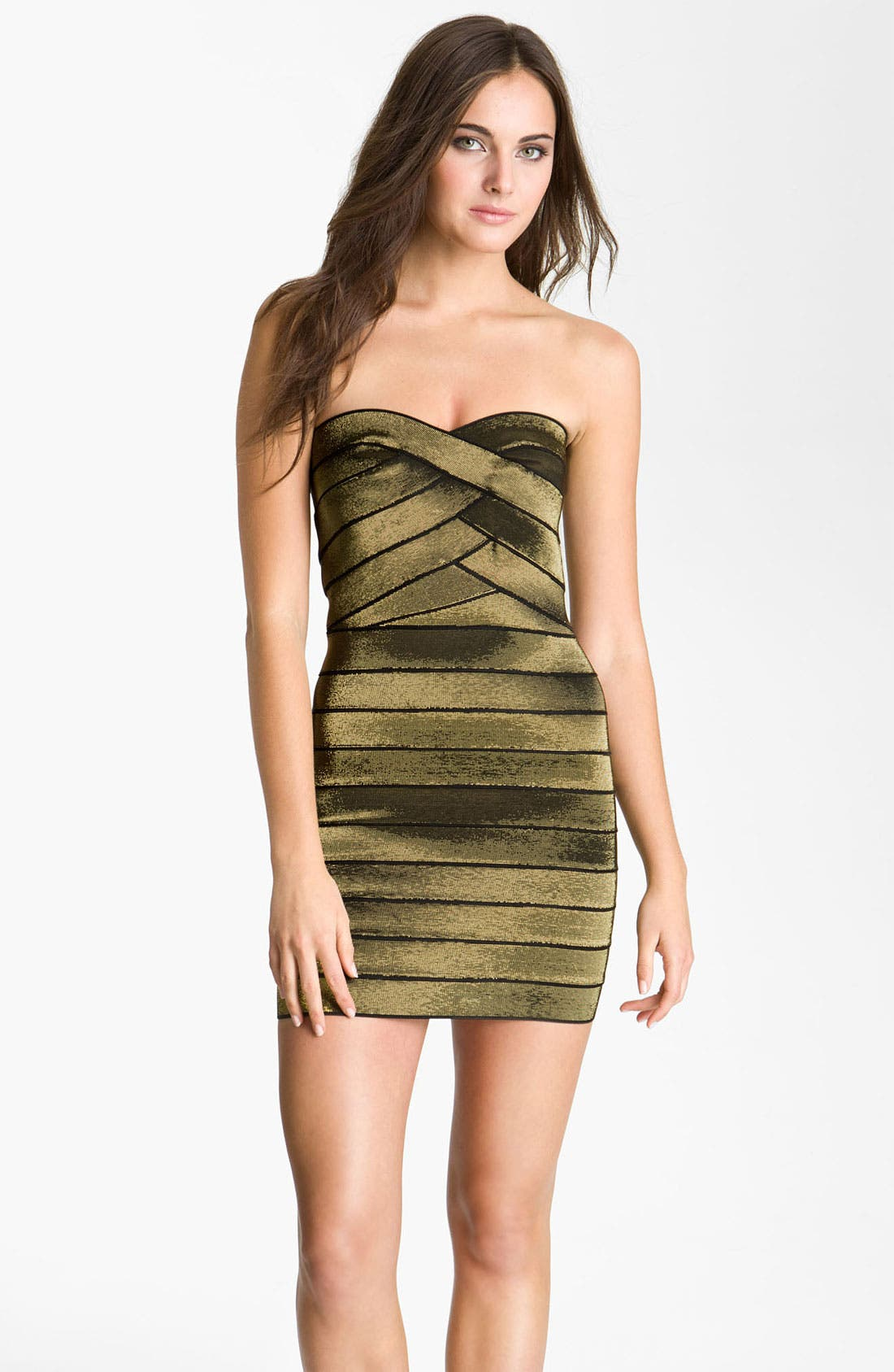 Main Image - Allen Schwartz Prive Strapless Metallic Bandage Minidress