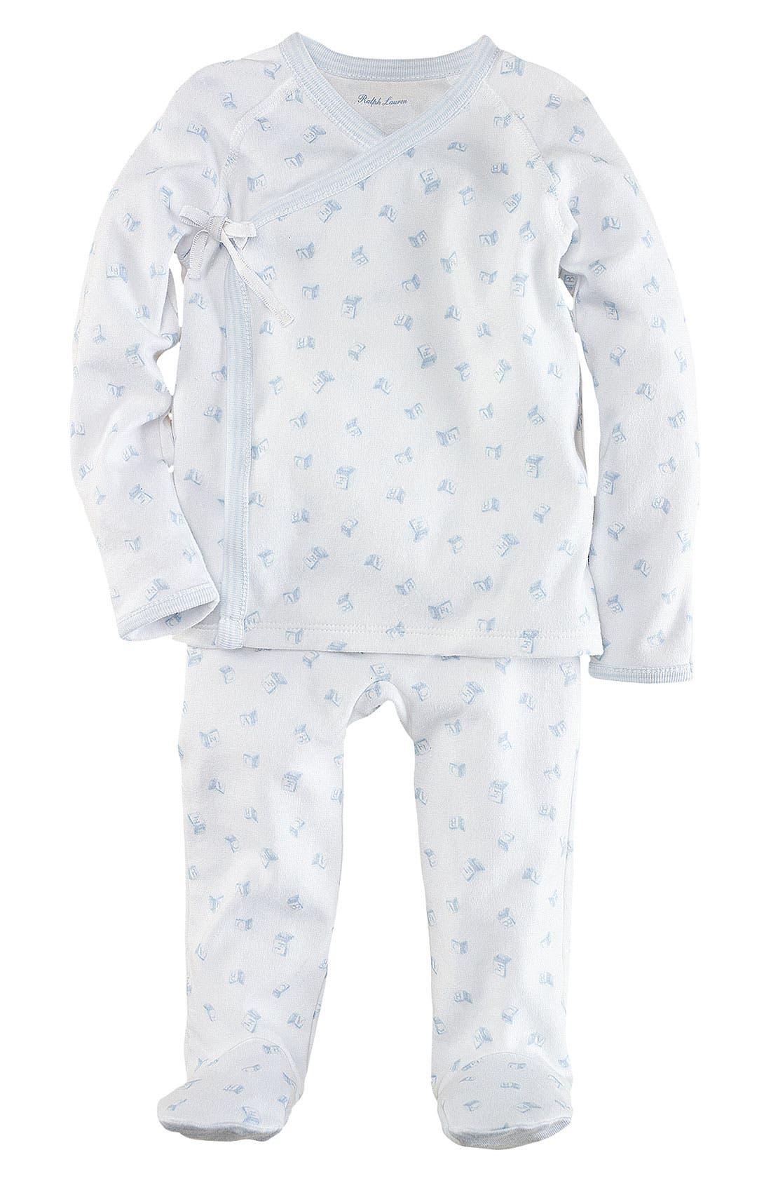 Alternate Image 1 Selected - Ralph Lauren Top & Footed Leggings (Infant)