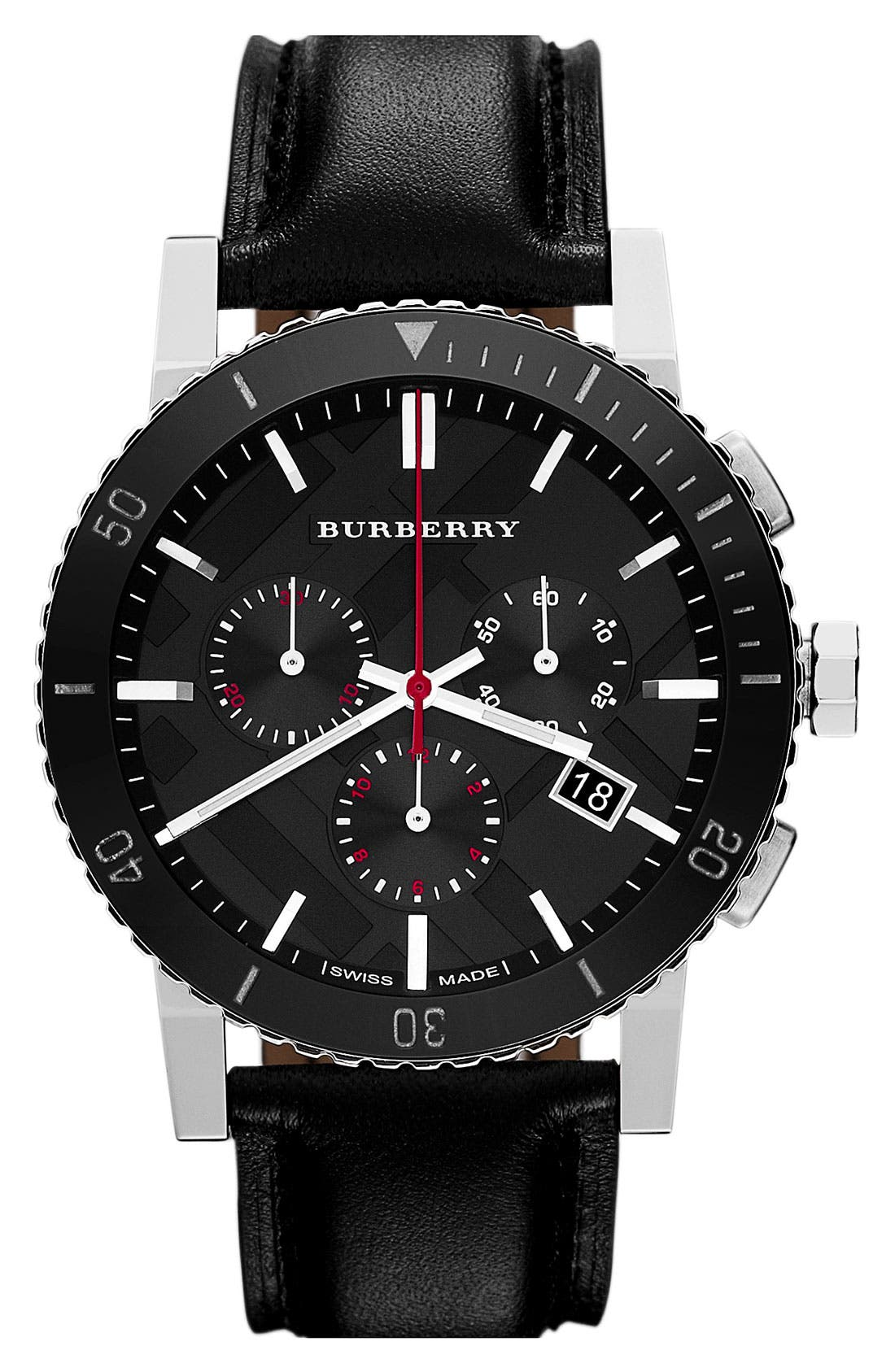 Alternate Image 1 Selected - Burberry Check Stamped Chronograph Watch