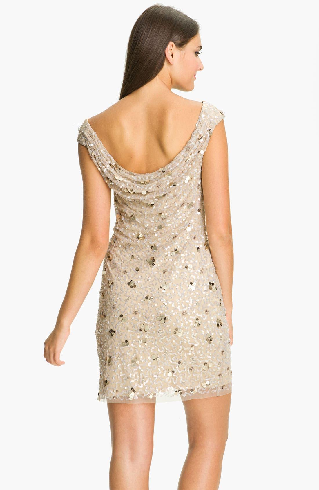Alternate Image 2  - Aidan Mattox Cowl Neck Embellished Sheath Dress (Online Only)