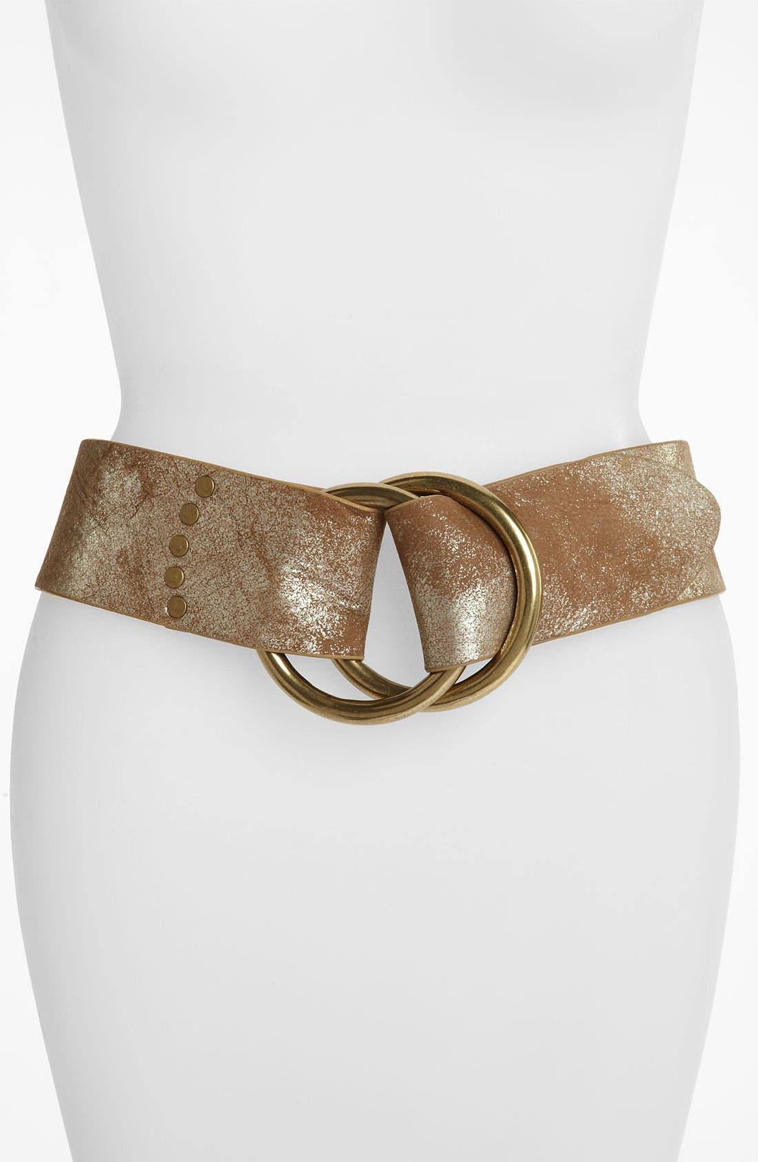 Alternate Image 1 Selected - Lauren Ralph Lauren Metallic Washed Leather Double Ring Belt