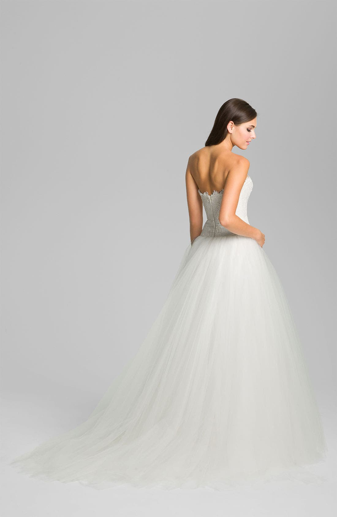 Alternate Image 2  - Theia Strapless Lace & Tulle Ballgown
