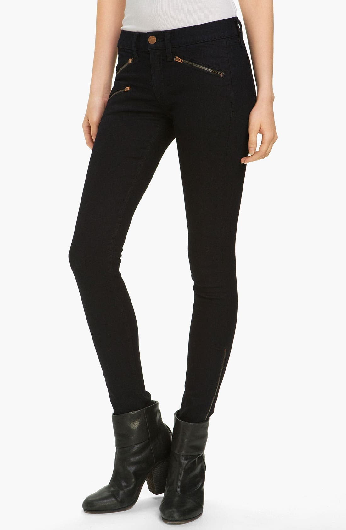 Alternate Image 1 Selected - rag & bone/JEAN Zip Pocket Skinny Stretch Jeans