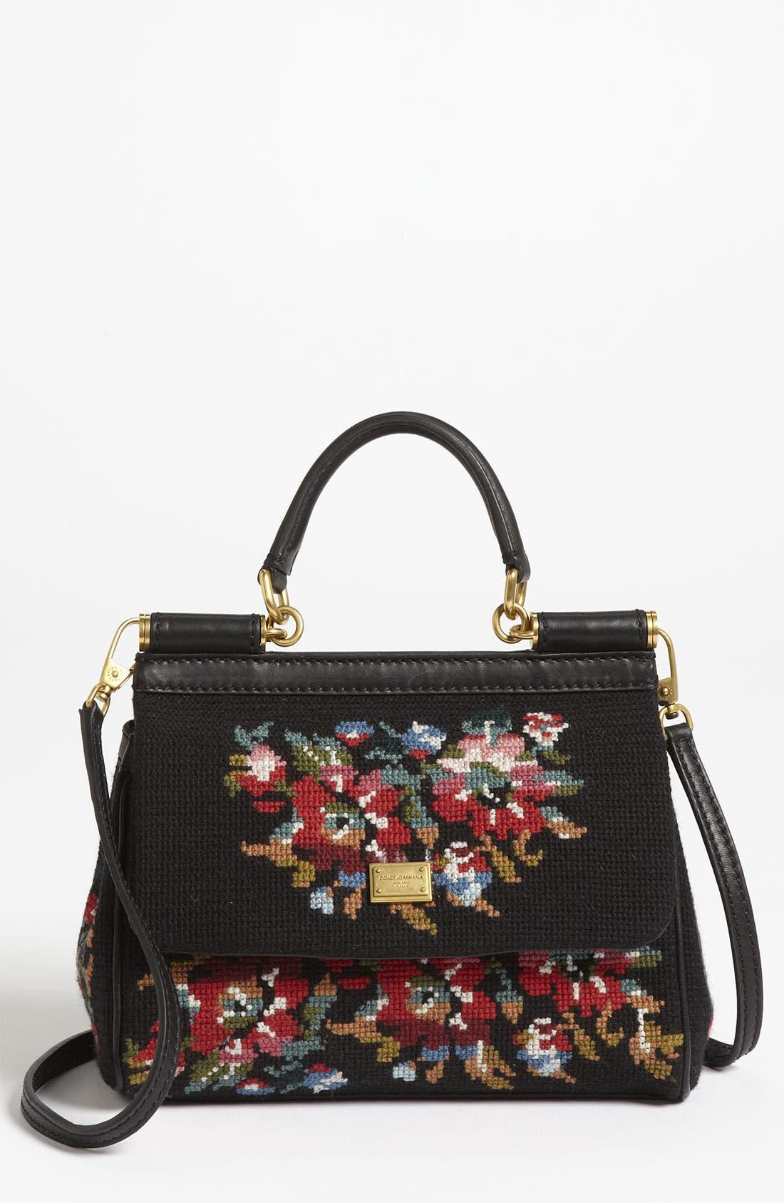 Main Image - Dolce&Gabbana 'Miss Sicily - Mini' Needlepoint Handbag